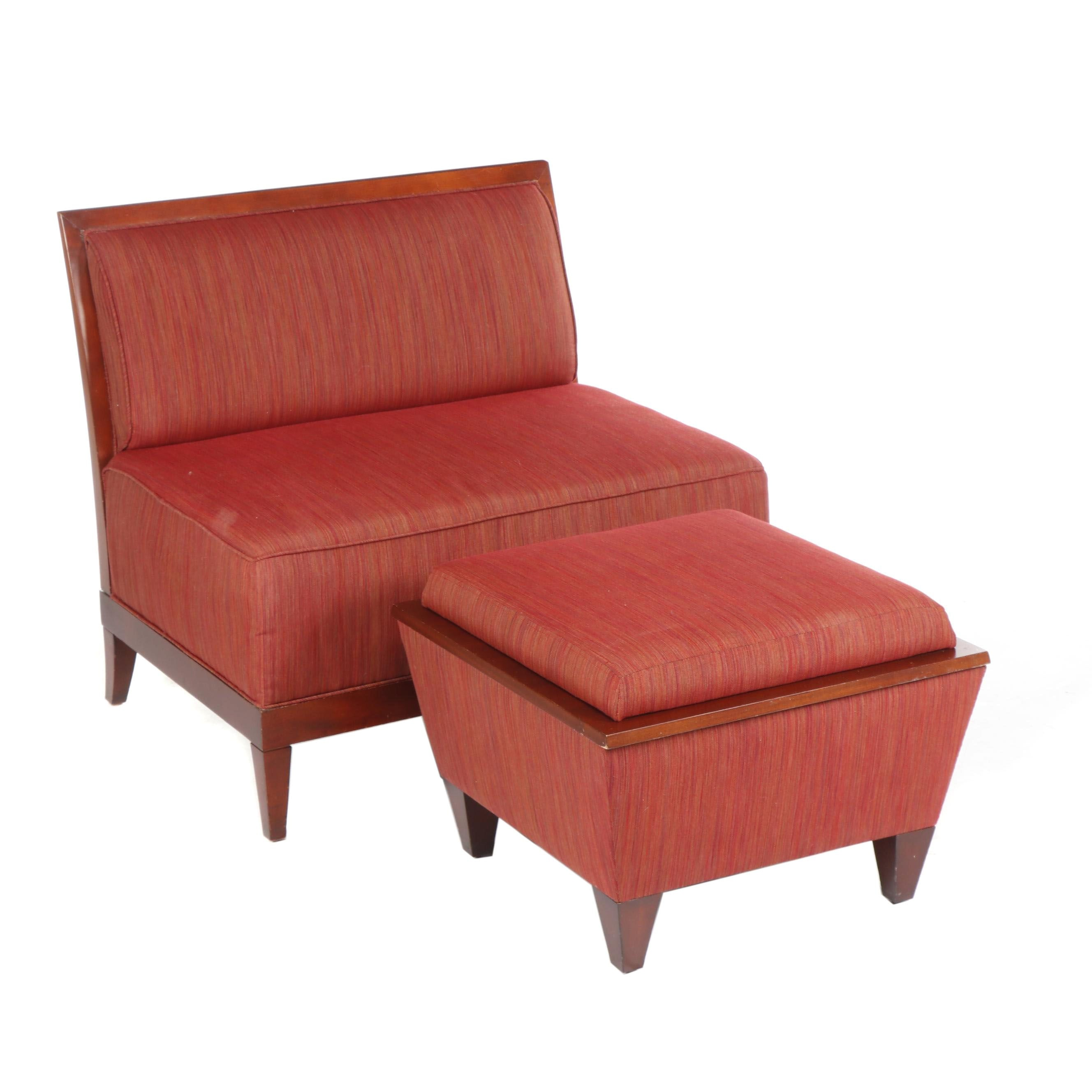 Baker Archetype Armless Straight-Back Chair with Custom Reversible Table Ottoman