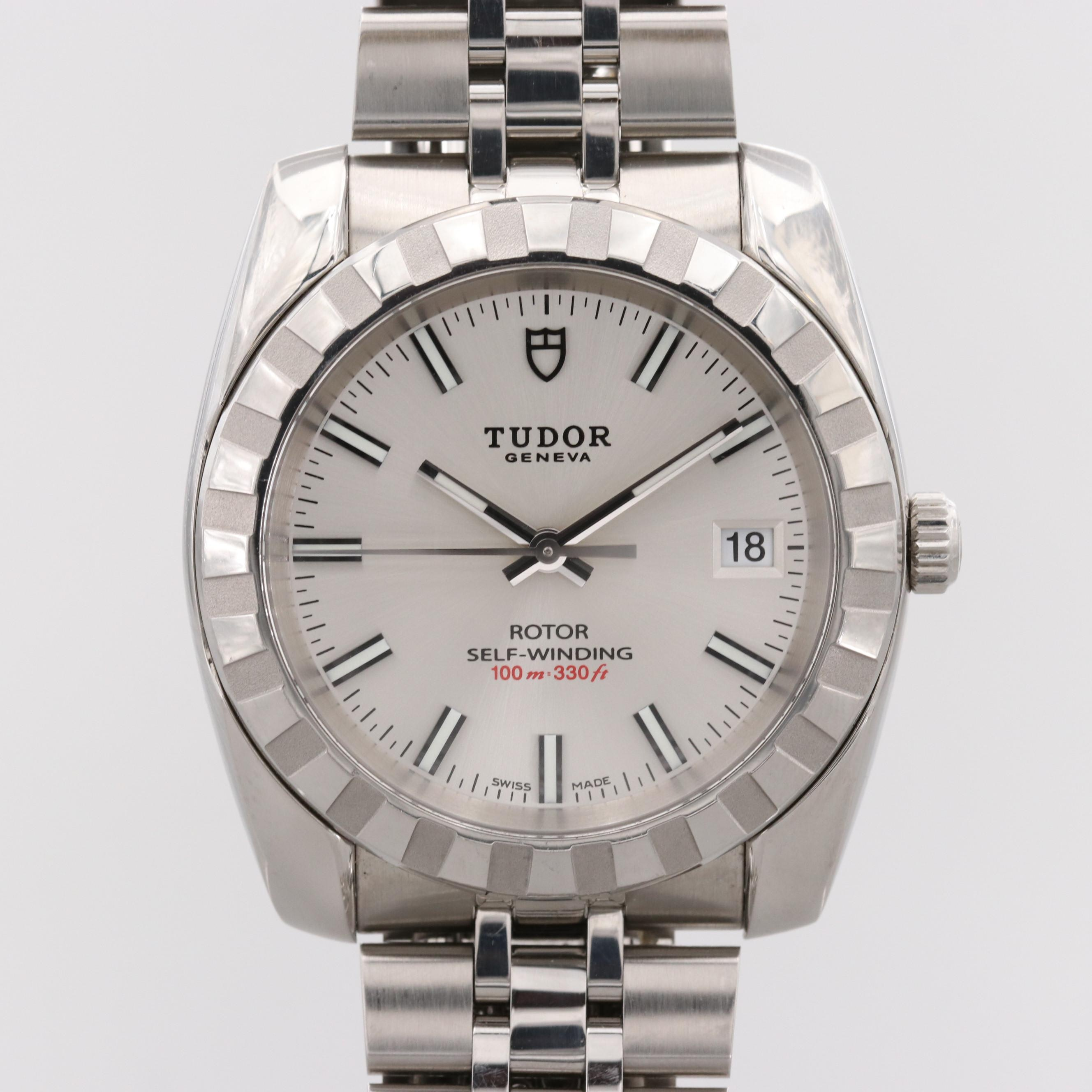 Tudor By Rolex Auto Prince Stainless Steel Wristwatch With Date