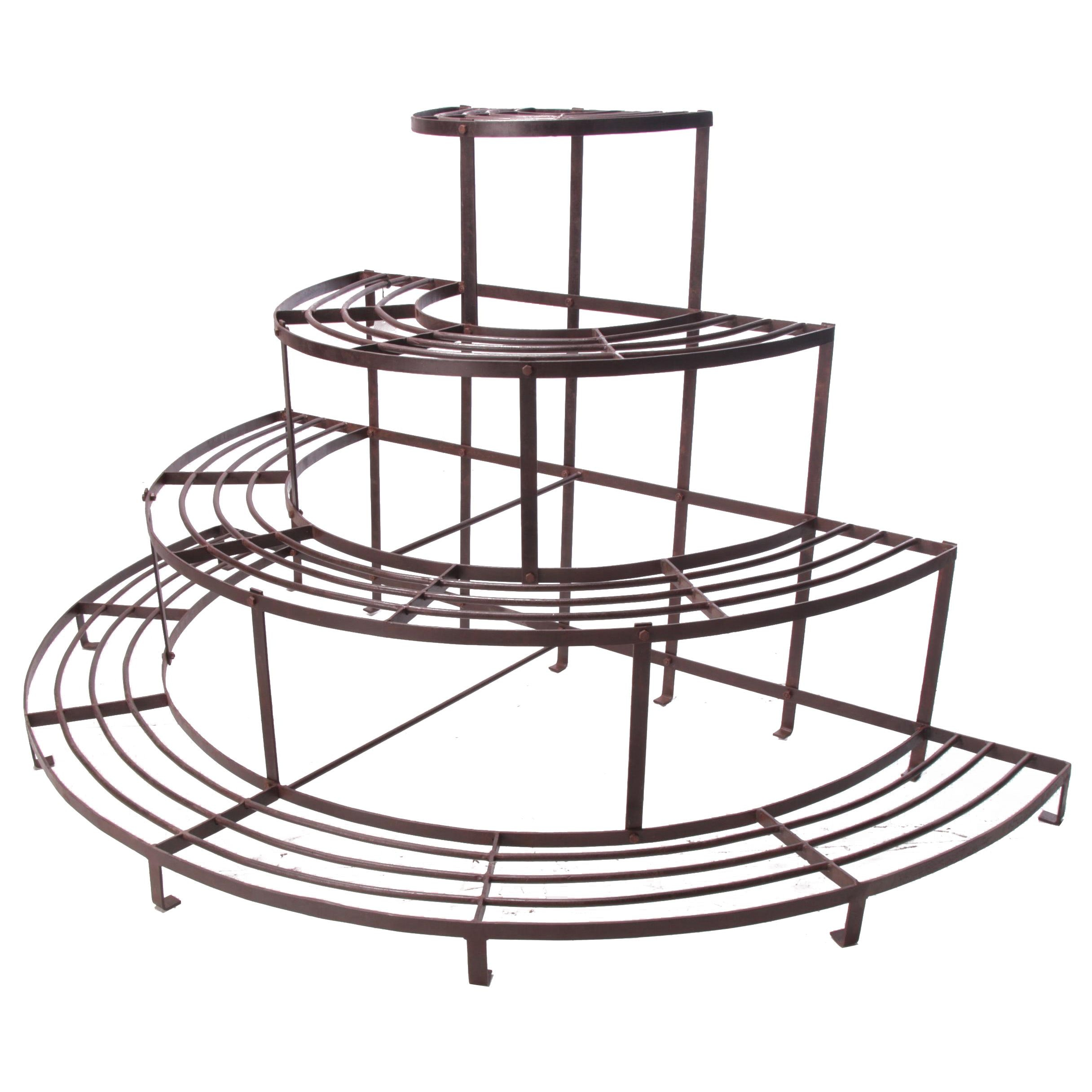 Industrial Style Wrought Iron Florist Display Plant Stand