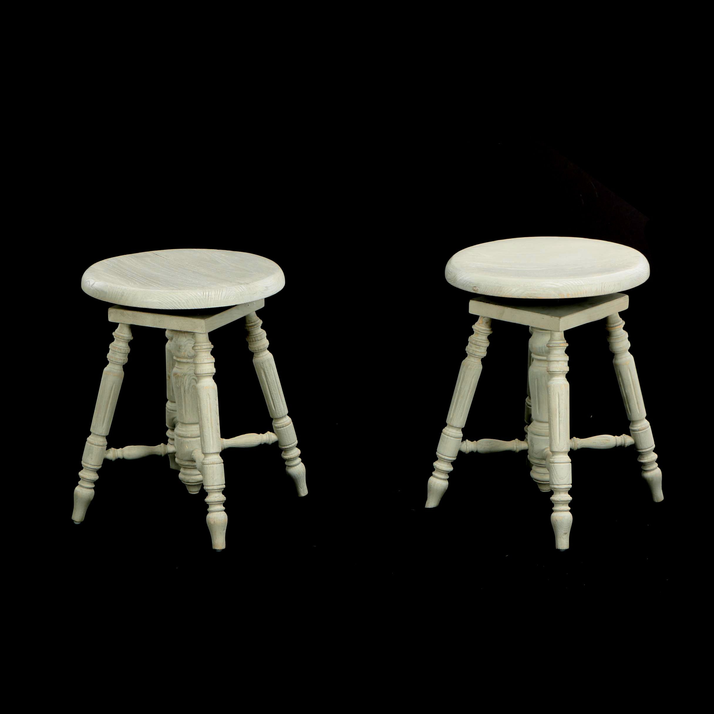 "Pair of ""Chantilly"" Painted Pine Piano Stools"
