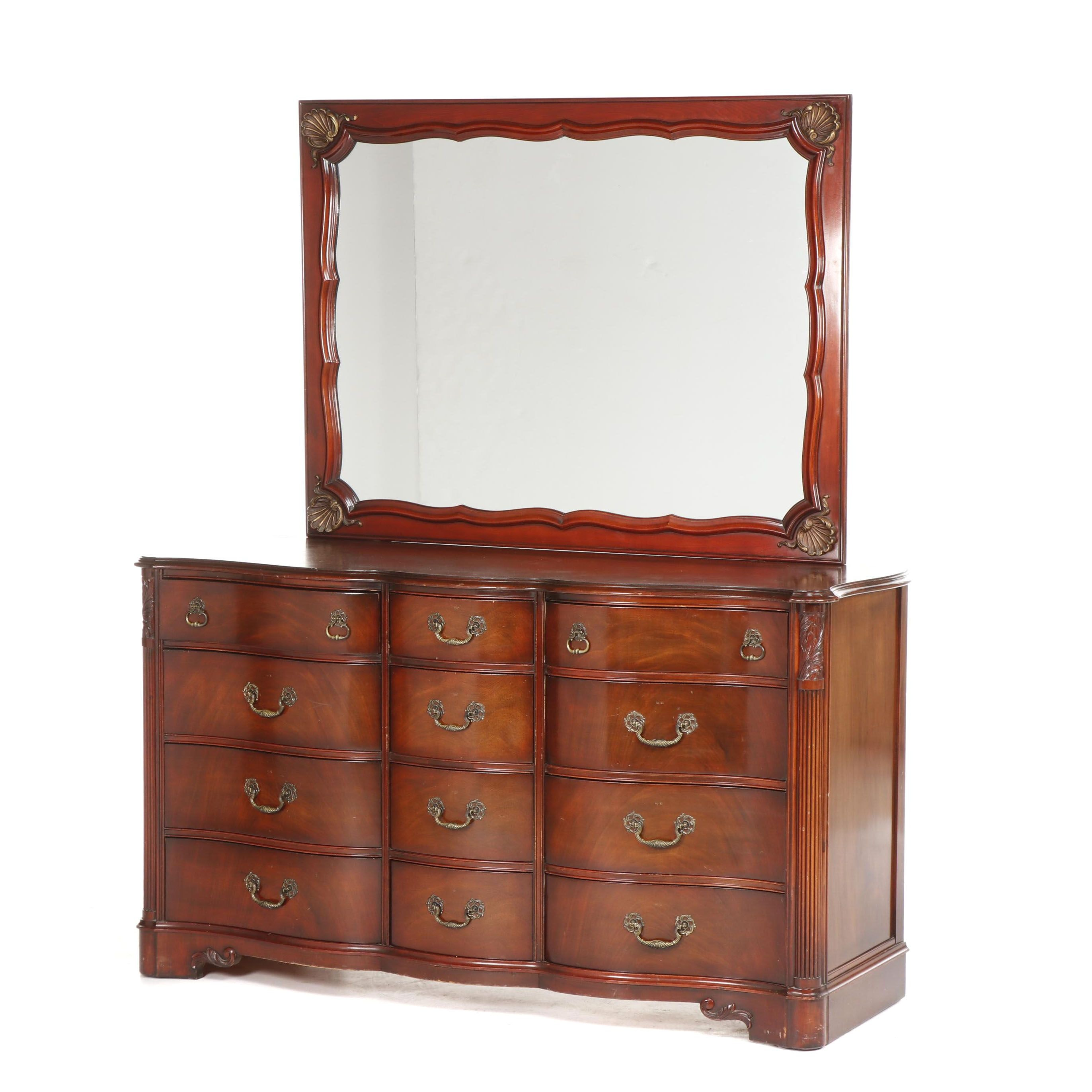 Mahogany Dresser with Mirror by White Furniture Company, Late 20th Century