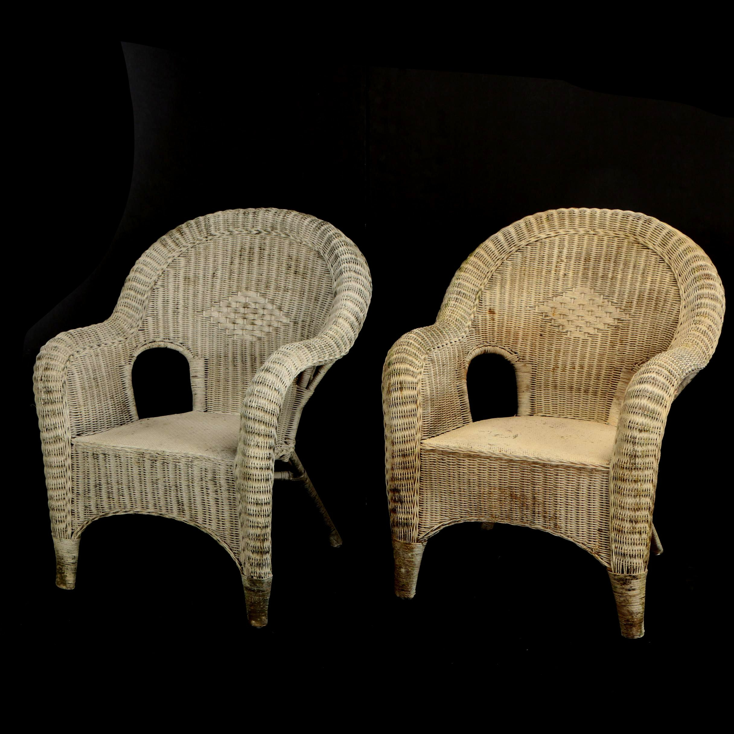 "Pair of ""Plantation"" Painted Wicker Chairs"