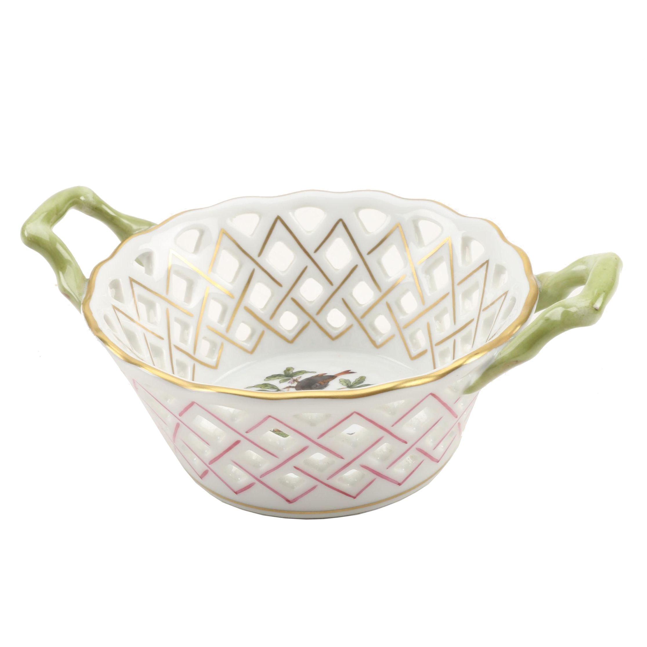 "Herend ""Rothschild Bird"" Porcelain Round Open Weave Basket with Handles"