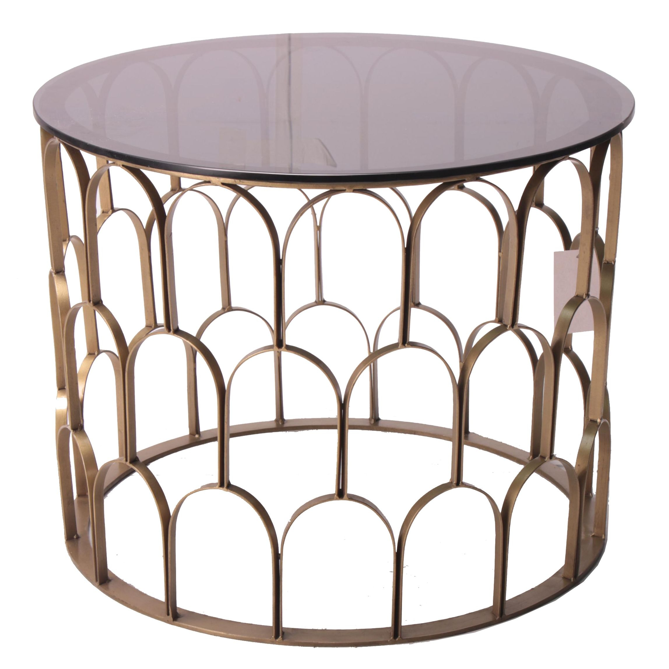 "Hollywood Regency Style ""Florid"" Gold Tone Metal End Table"