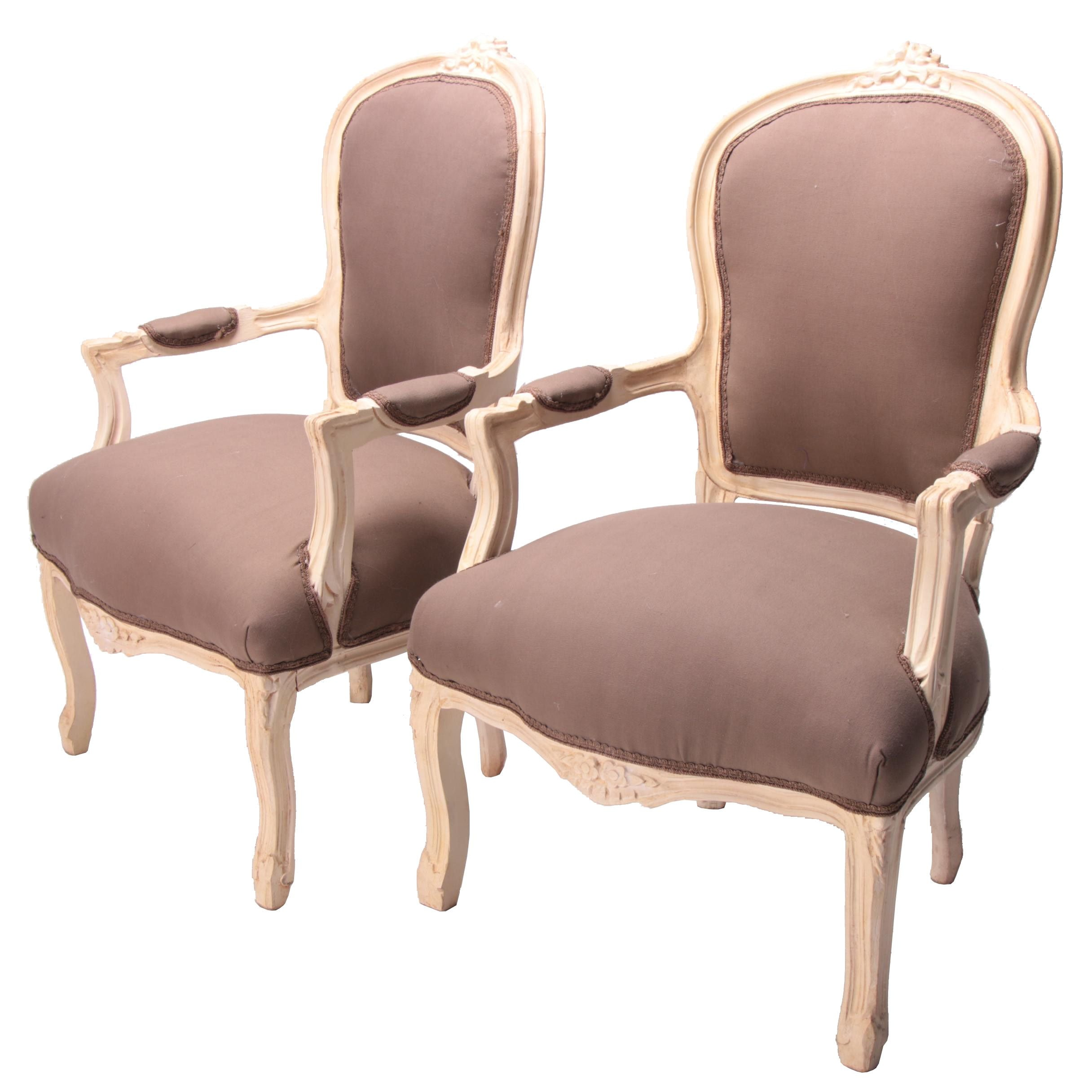 Pair of French Provincial Style Painted Wood Fauteuil a la Reines