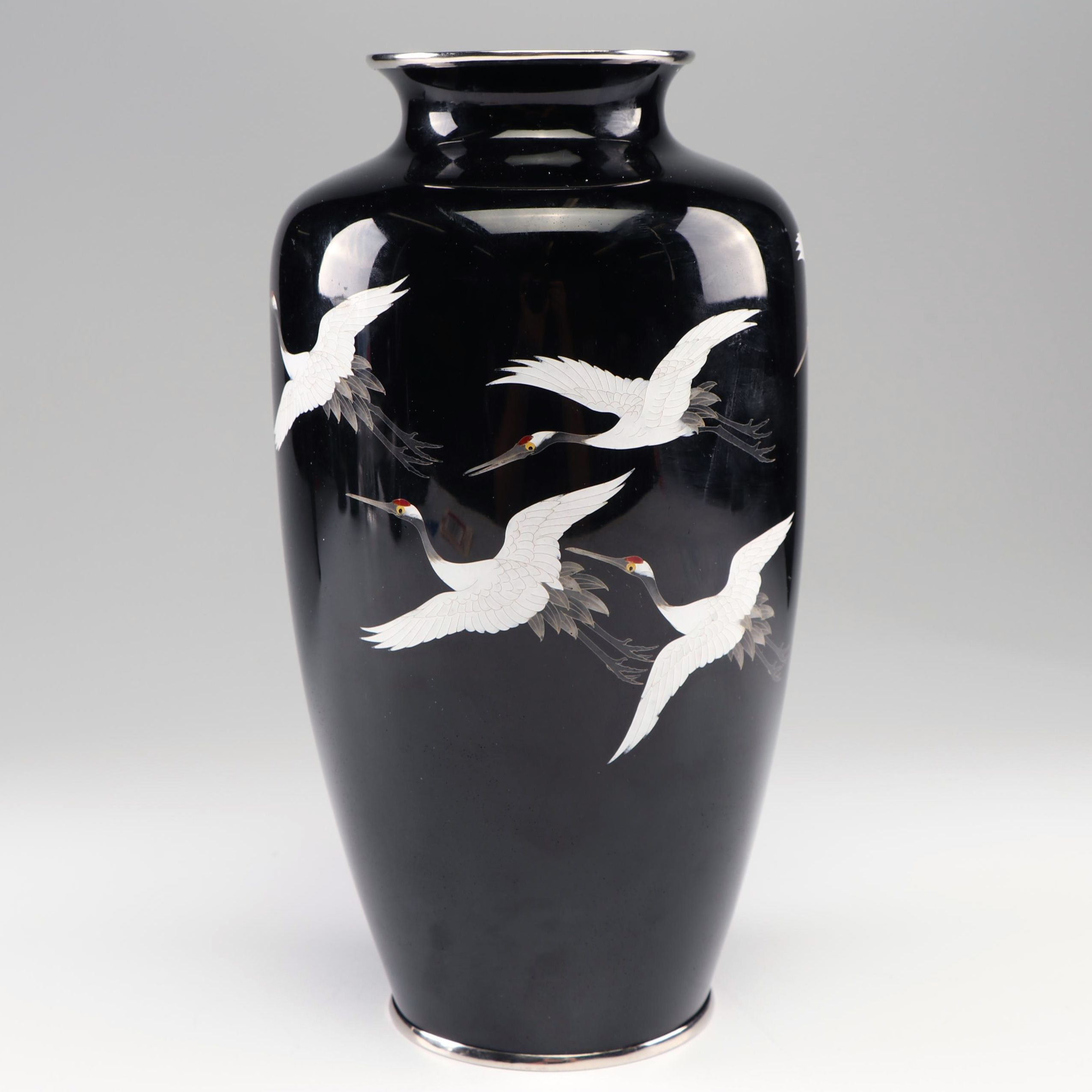 Japanese Cloisonné Vase with Flying Cranes