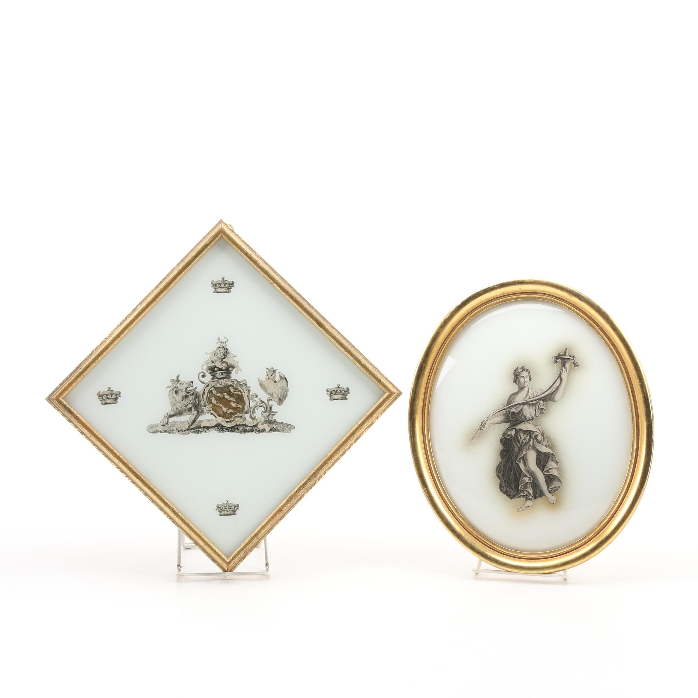 Neoclassical and 18th Century English Inspired Wall Hangings in Gilt Frames