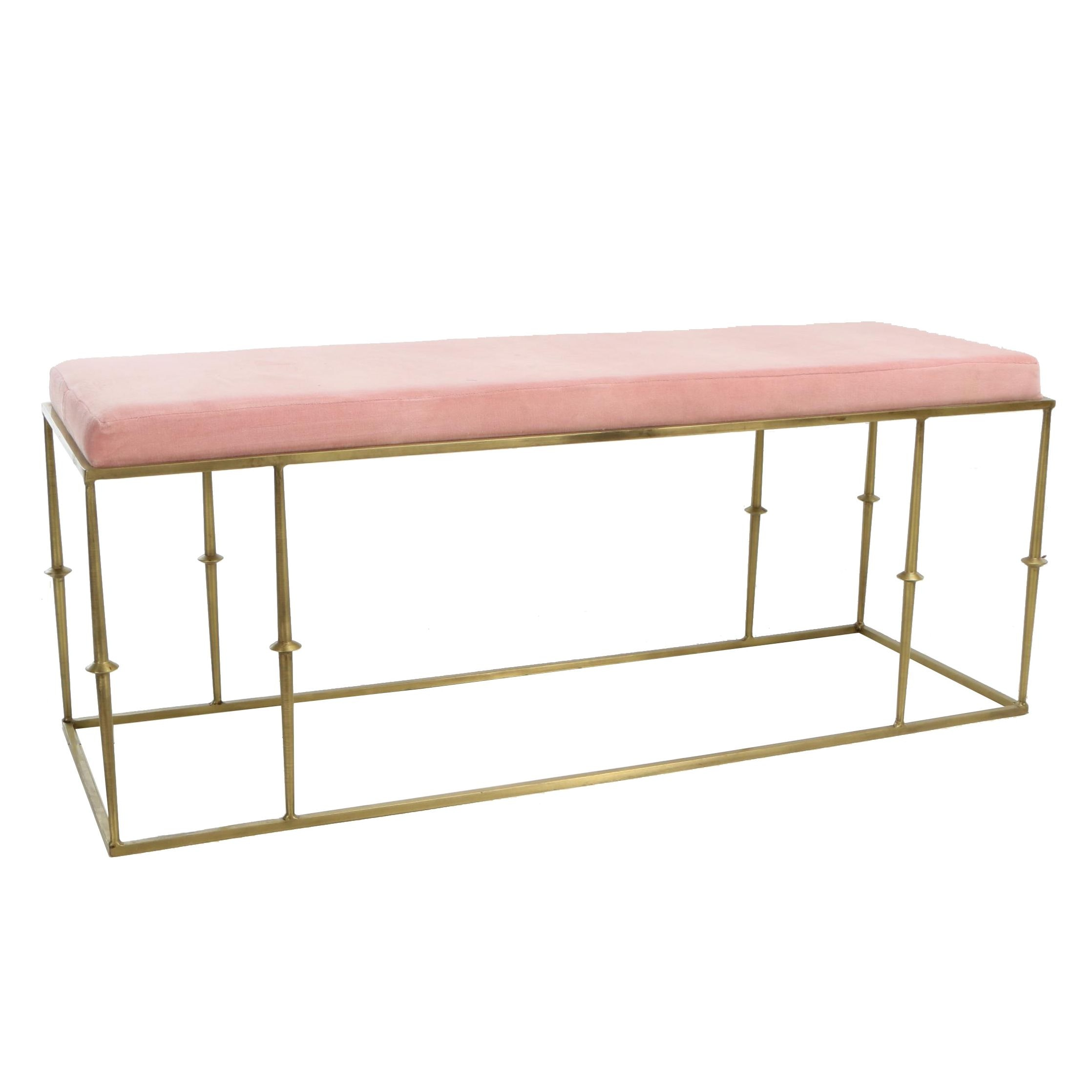 """Gold Tone Metal and Velour """"Glam"""" Bench"""