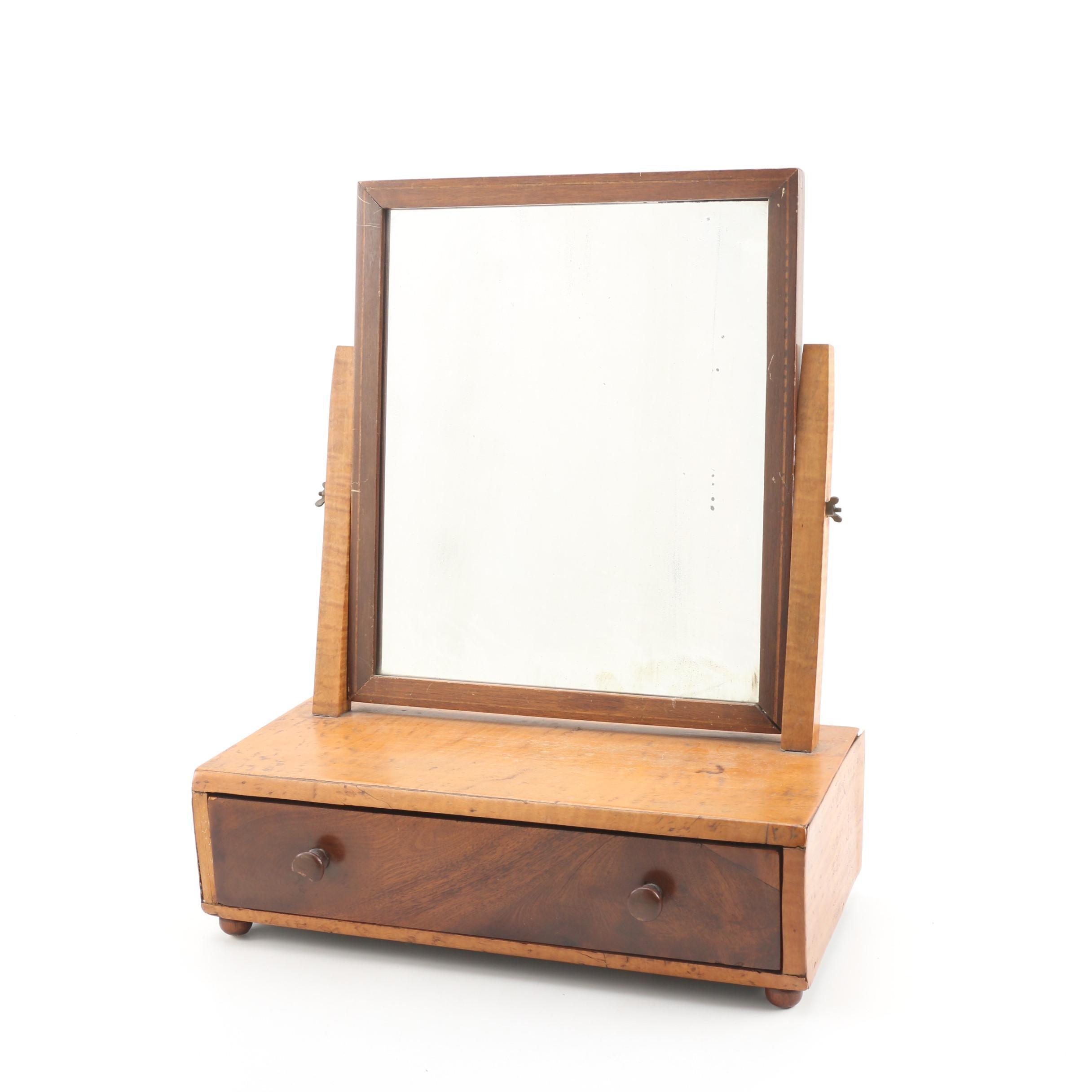 Maple and Walnut Mirrored Shaving Stand, 19th Century