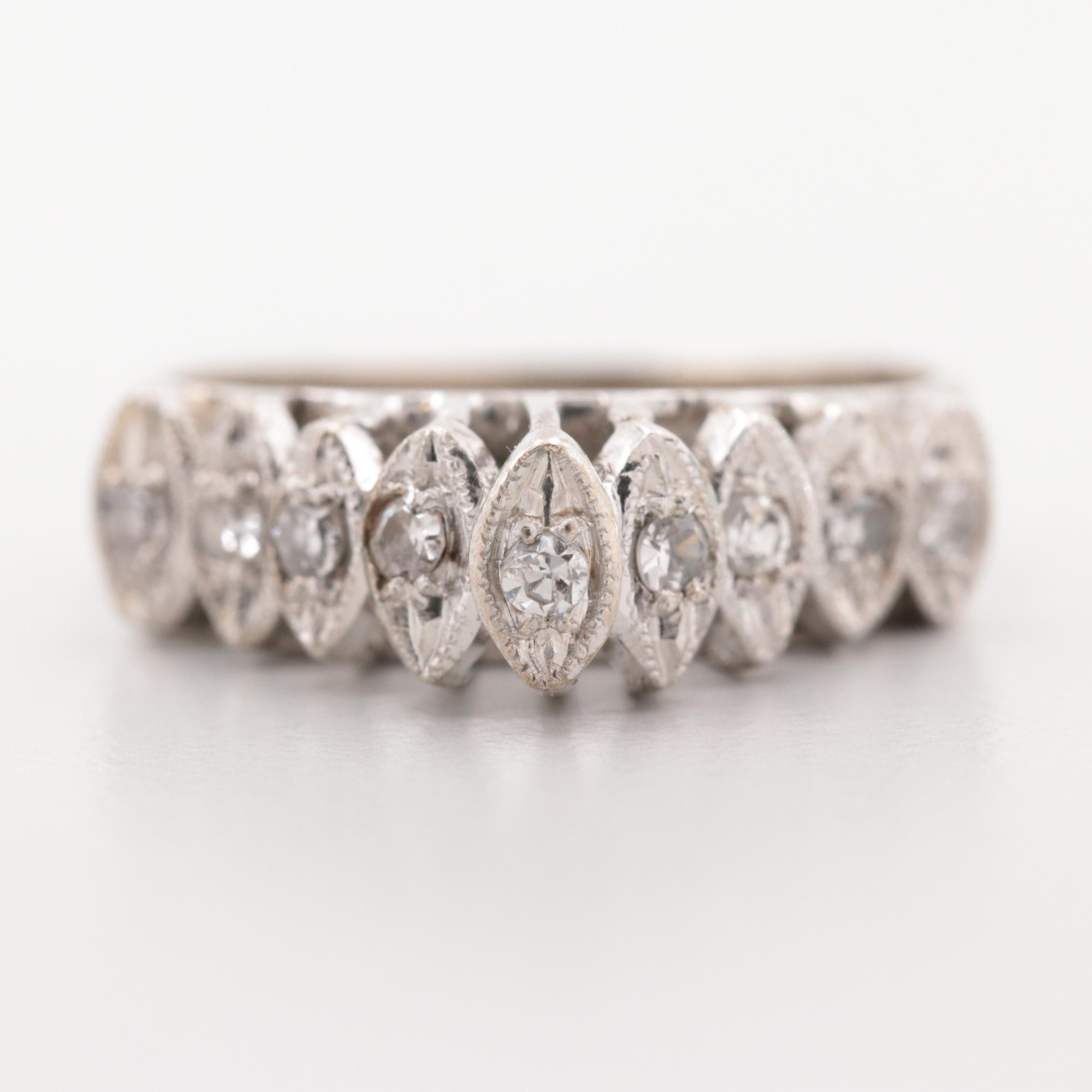 Vintage 10K White Gold Diamond Cathedral Style Band