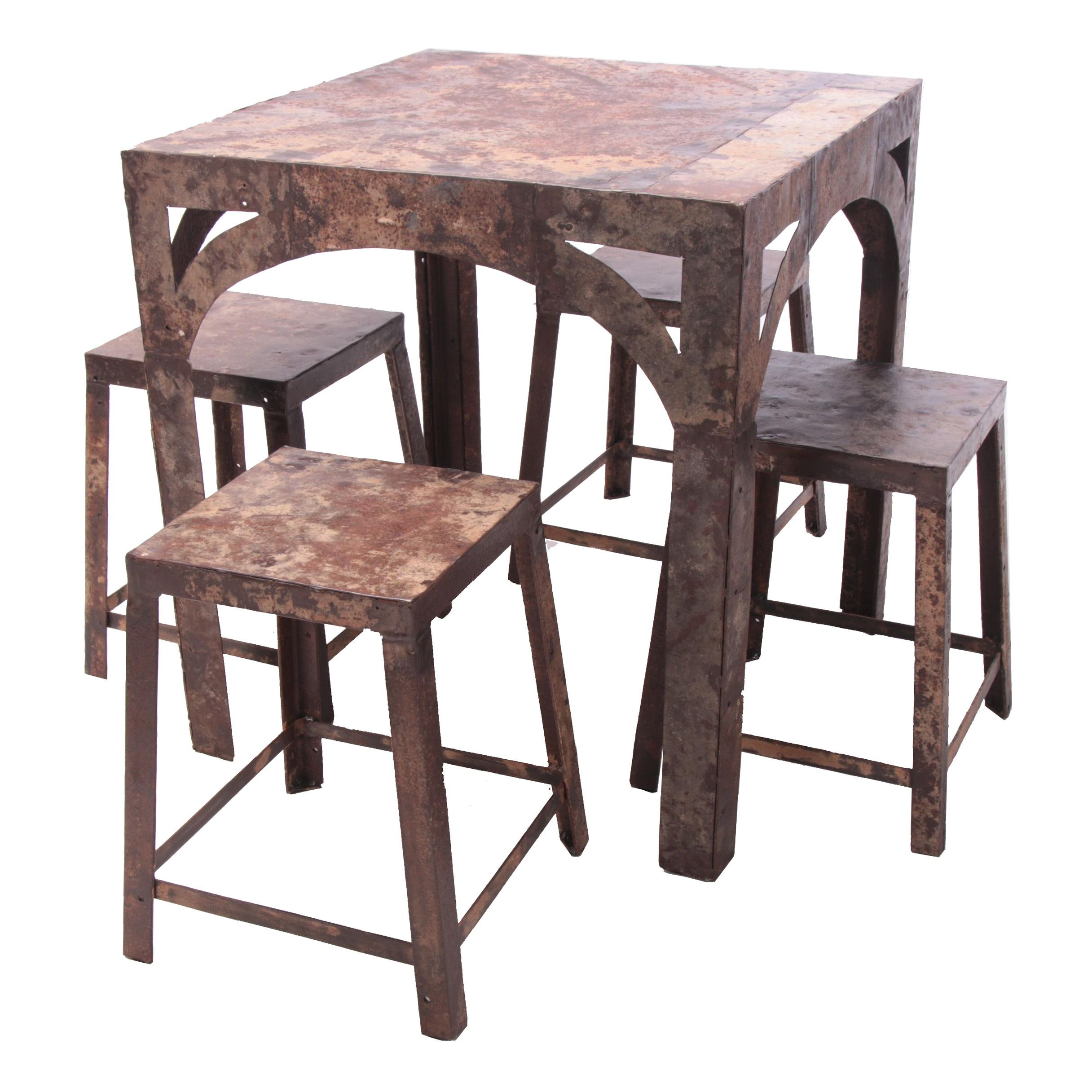 """Industrial Style """"Mason's Plate"""" Metal Cafe Table and Stools"""