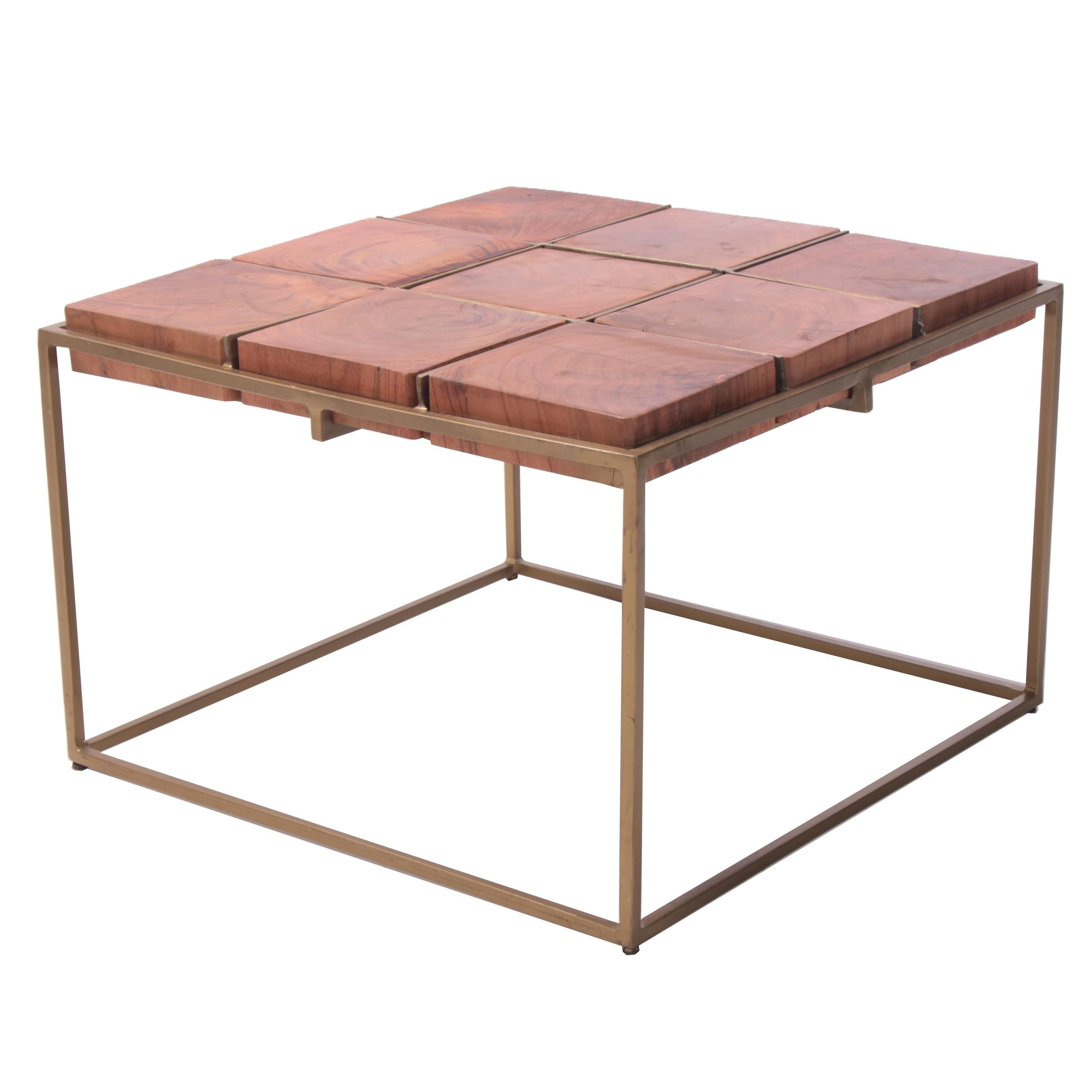 """Crosscut"" Acacia and Gold Tone Metal Coffee Table"