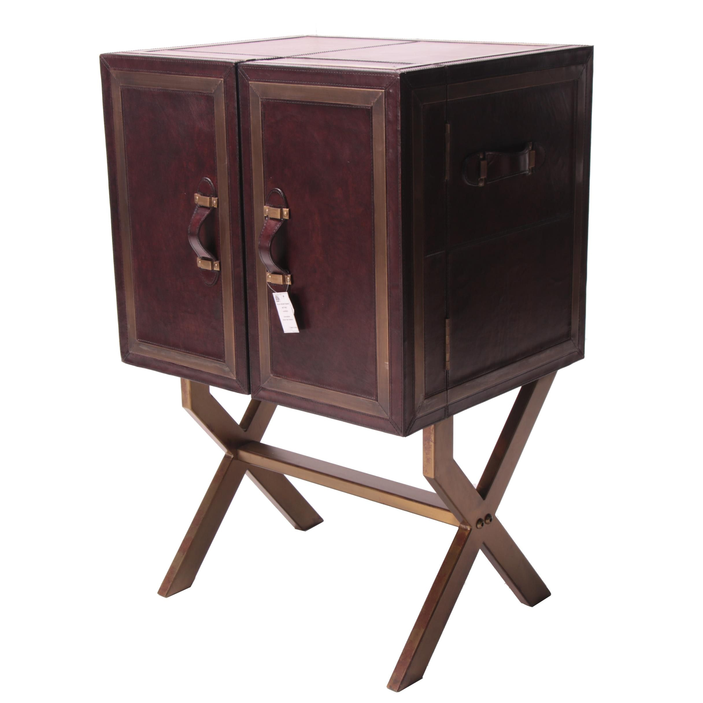 """""""Swain"""" Leather and Gold Tone Metal Bar Cabinet"""