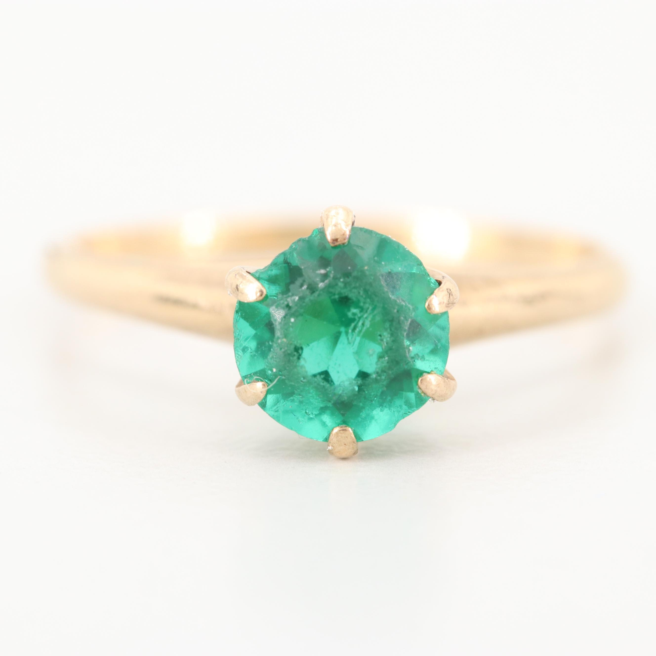 10K Yellow Gold Glass Solitaire Ring