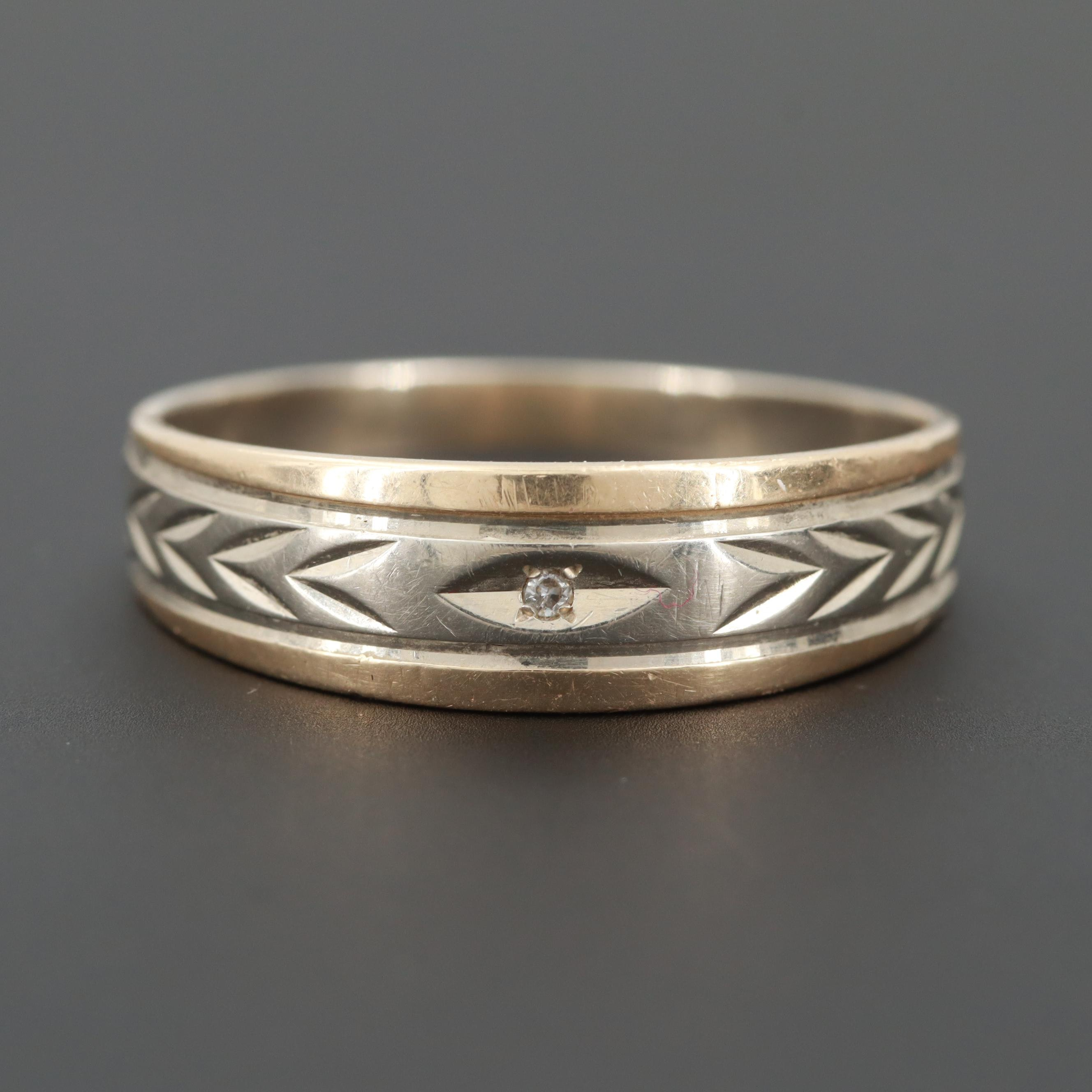 14K White Gold Diamond Band with Yellow Gold Accents
