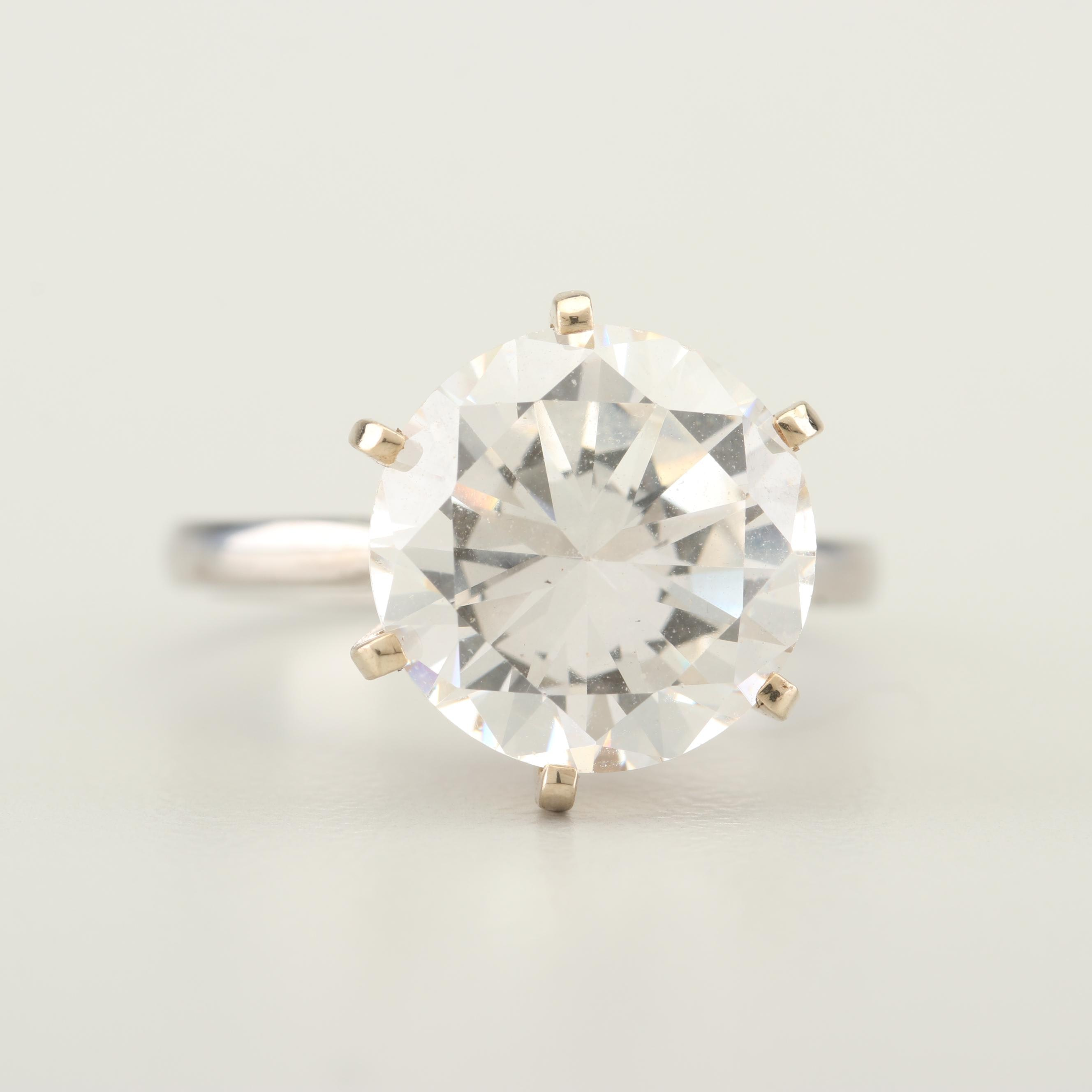 Platinum and Cubic Zirconia Solitaire Ring