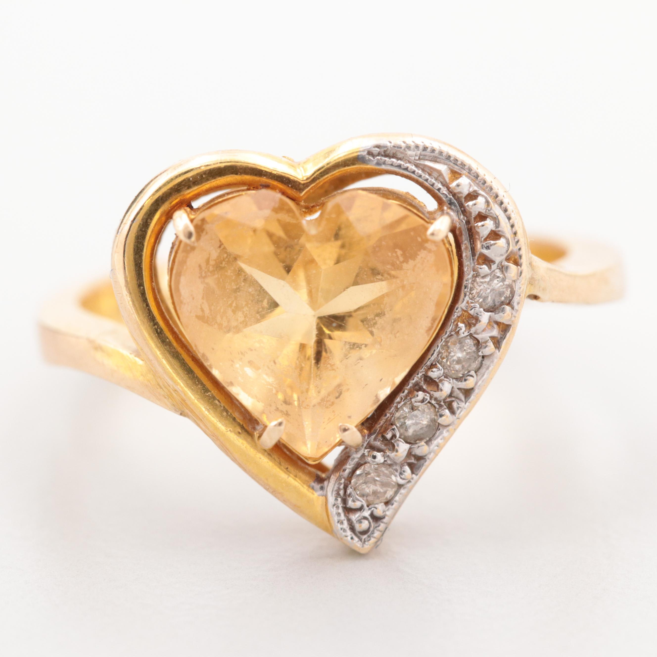 14K Yellow Gold Citrine and Diamond Heart Ring