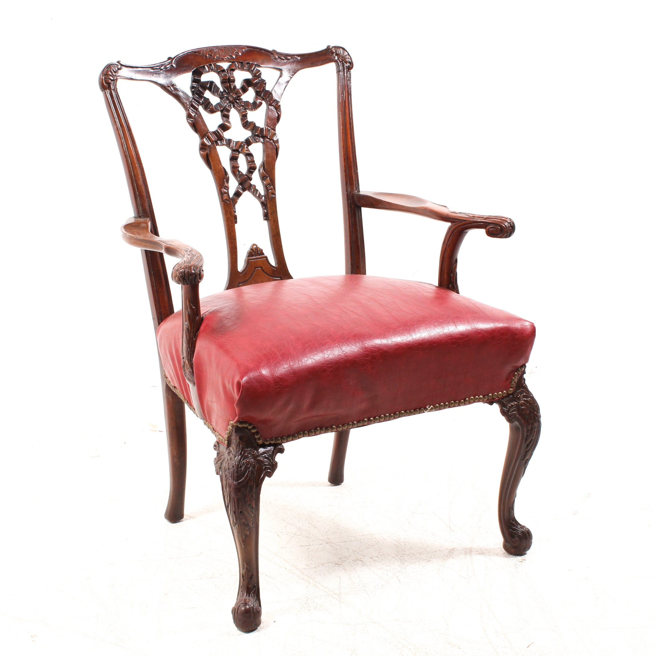 George III Style Ribbon-Back Mahogany Armchair, Early 20th Century