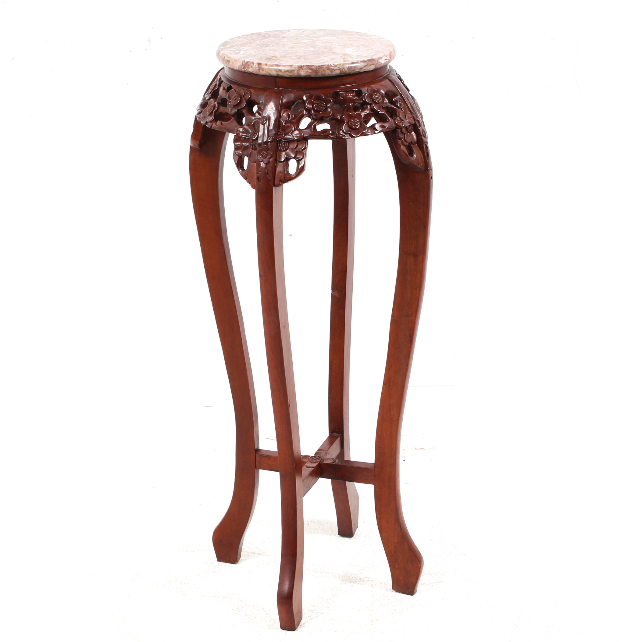 Chinese Carved Exotic Hardwood Marble Top Plant Stand