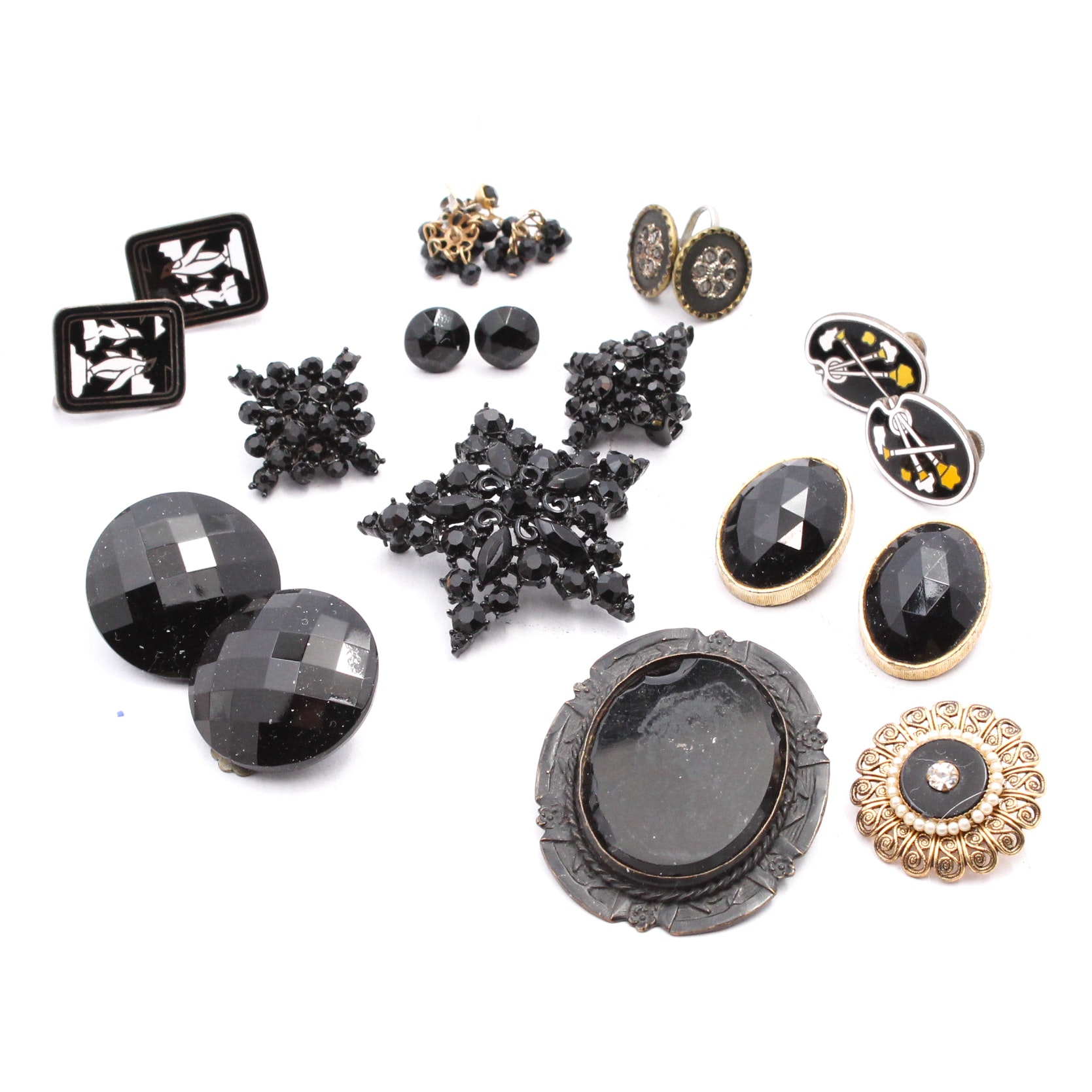 Black Costume Jewelry Earrings and Brooches