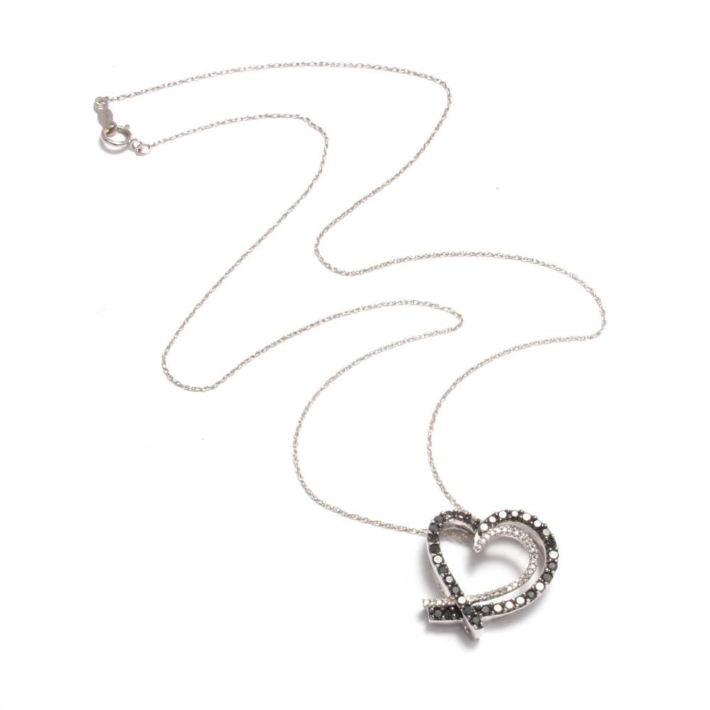 14K White Gold Black and White Diamond Heart Necklace