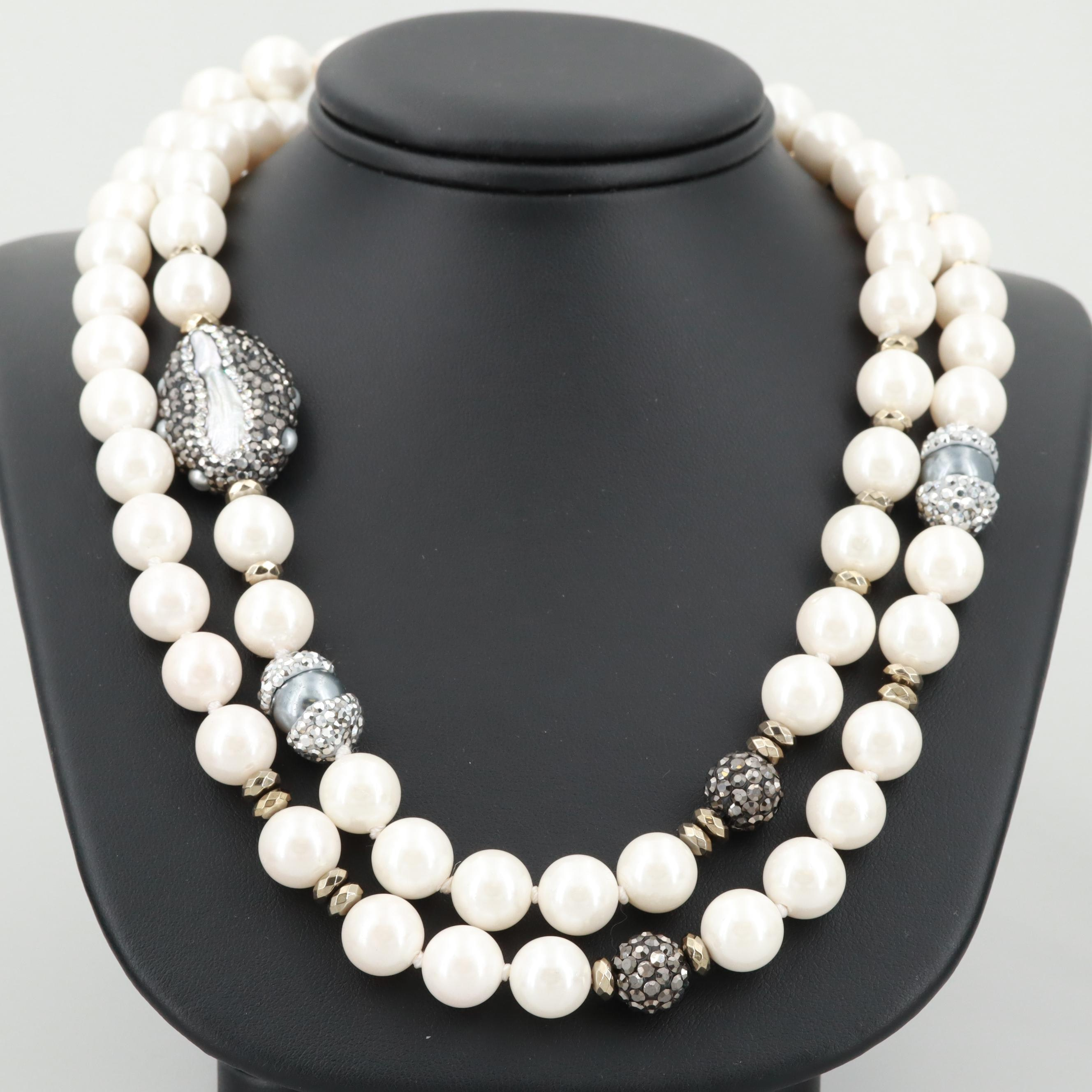 Silver and Gold Tone Imitation Cultured Pearl and Marcasite Endless Necklace
