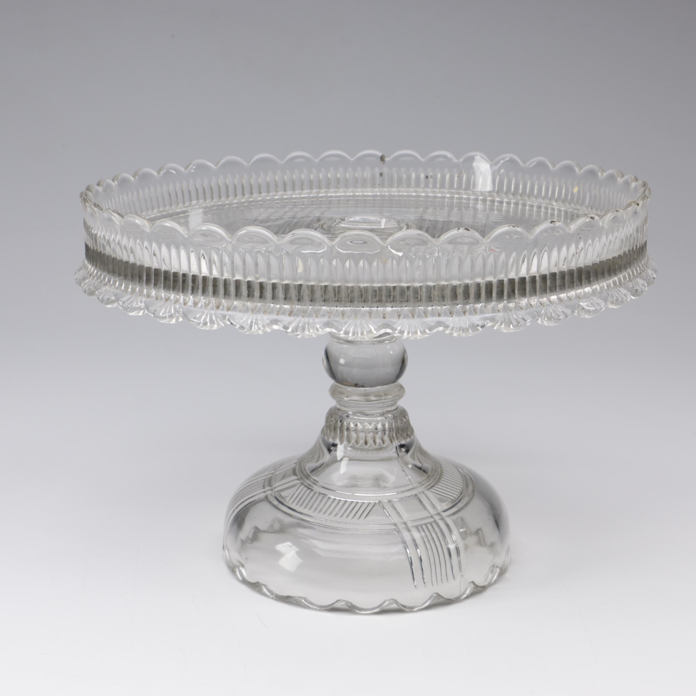 Pressed Glass Pedestal Cake Stand, Early 20th Century