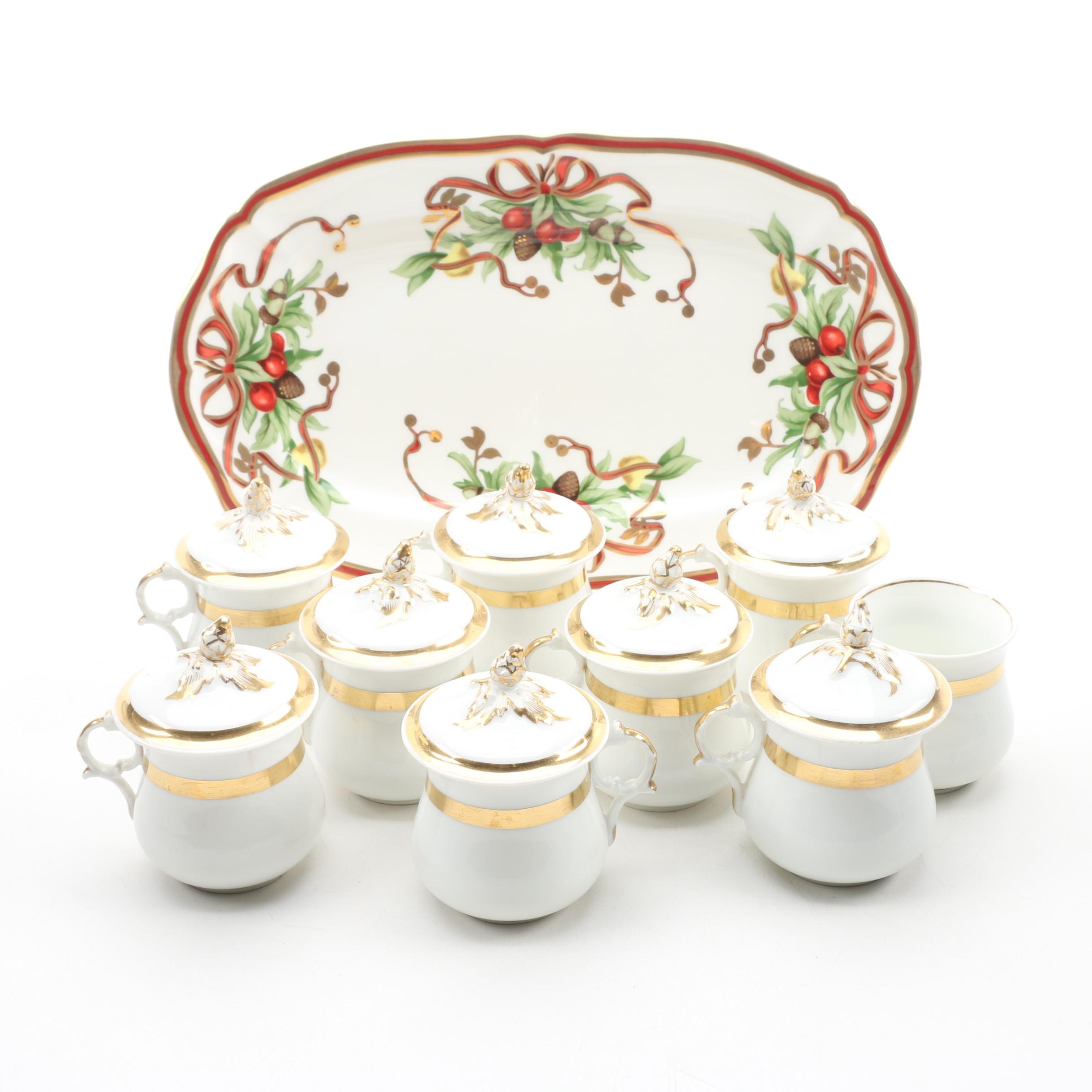 "Tiffany & Co. ""Tiffany Holiday"" Porcelain Sandwich Tray with Custard Cups"