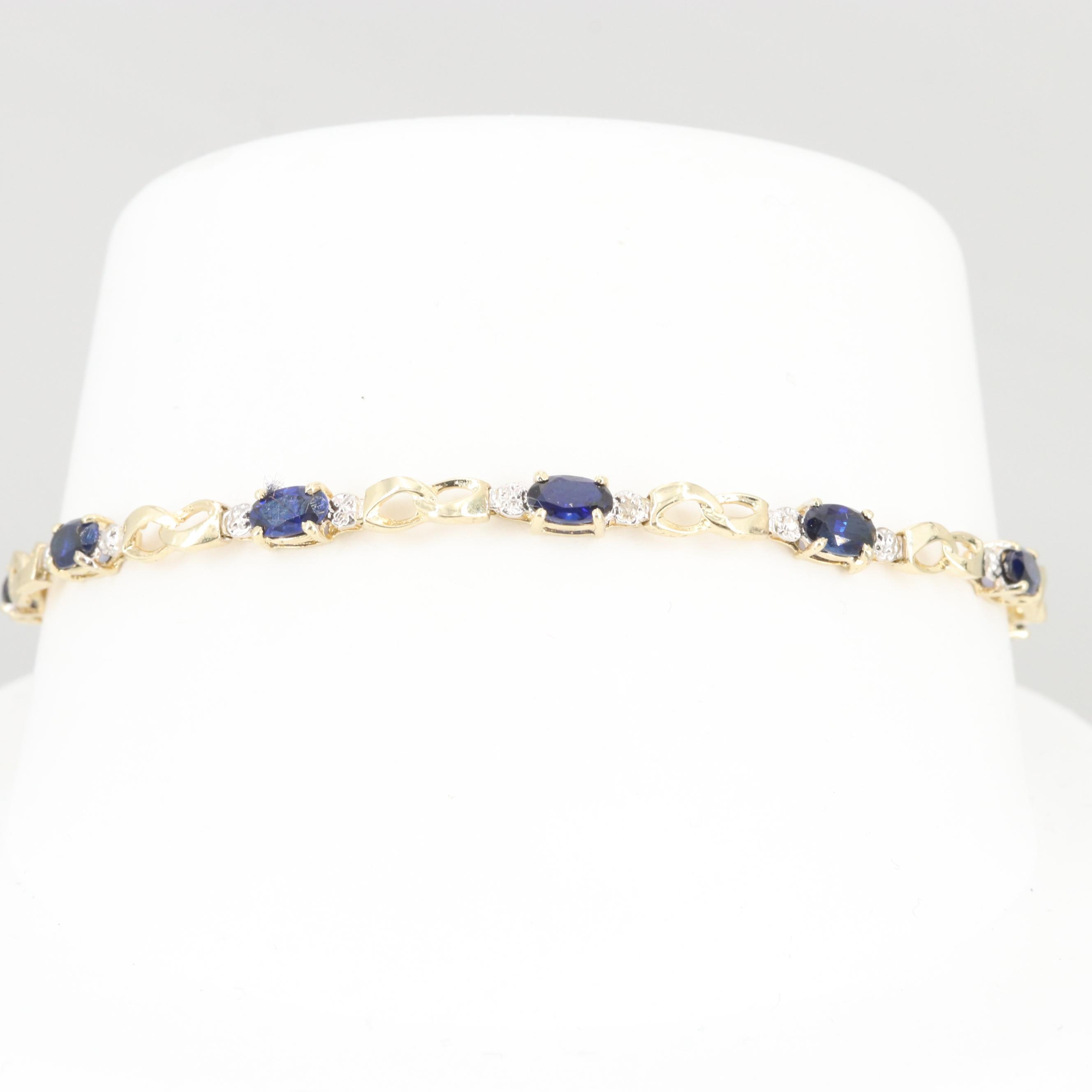 10K Yellow Gold Synthetic Sapphire and Diamond Bracelet