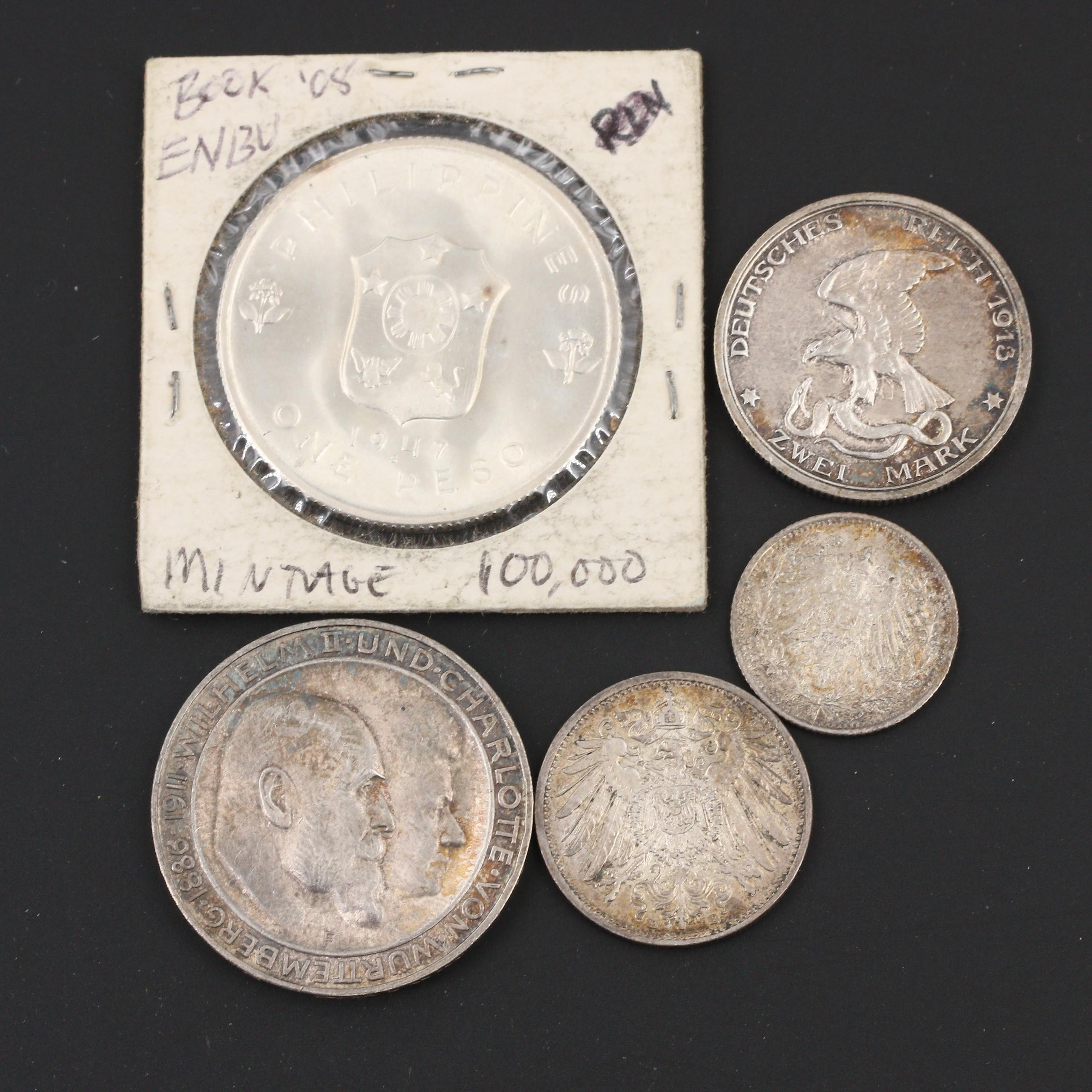 Group of Five Antique to Vintage Foreign Silver Coins