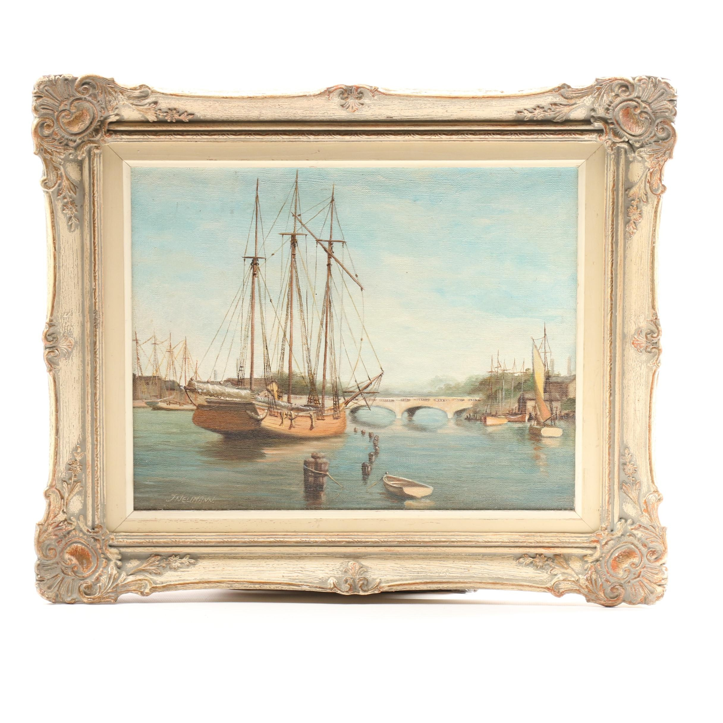 J. Neumann Oil Painting of Harbor Scene
