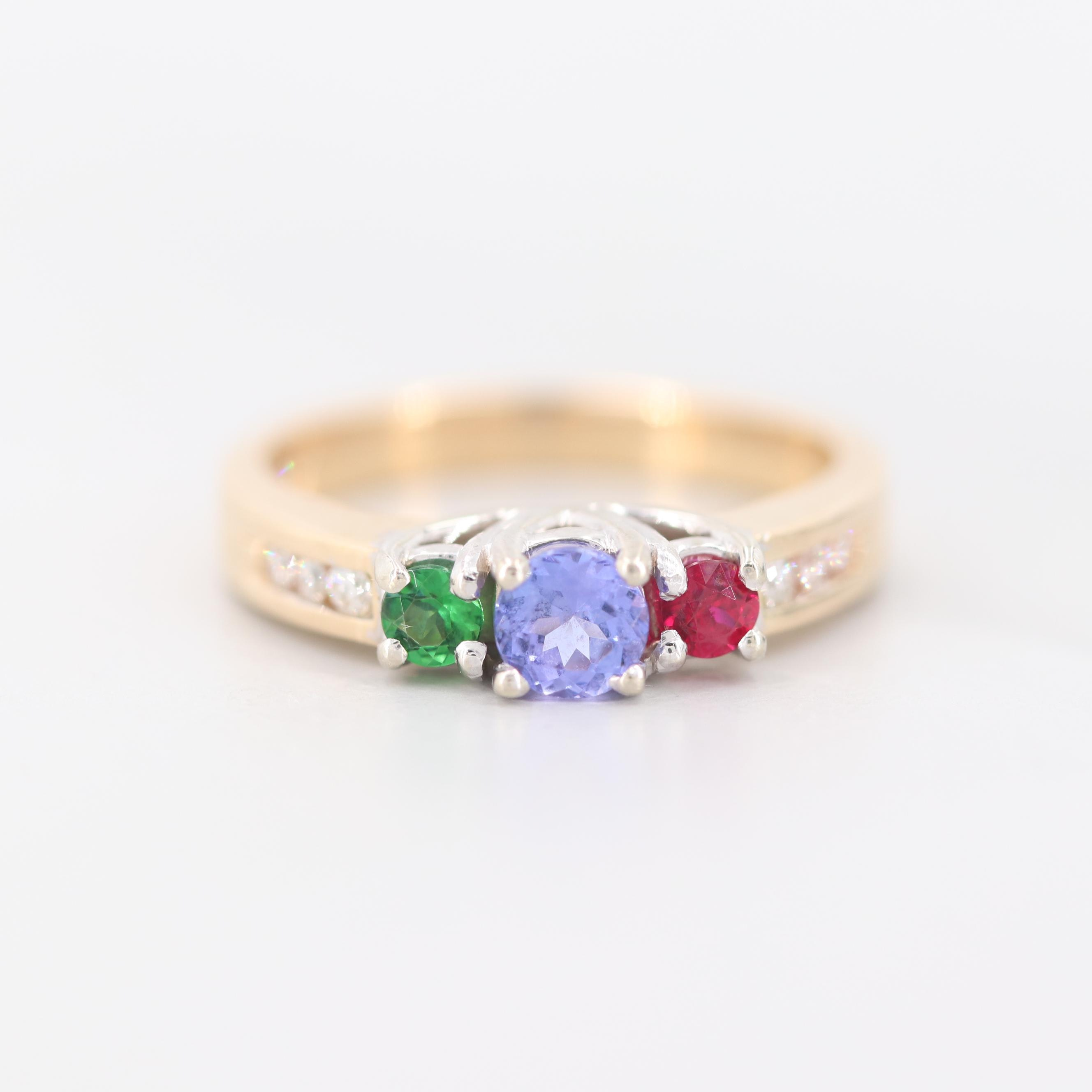 14K Yellow Gold Tanzanite, Ruby, Tsavorite and Diamond Ring