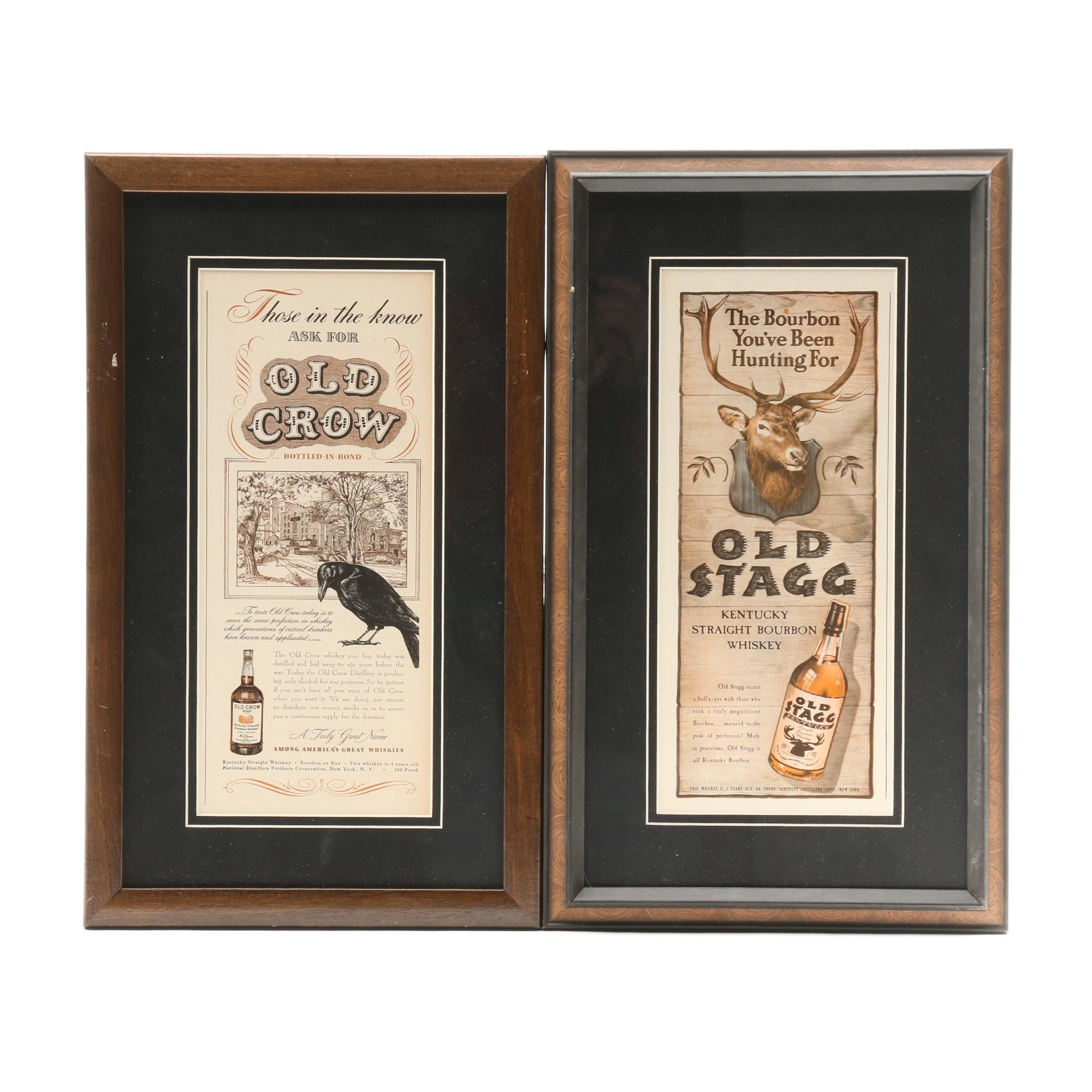 Vintage Advertisements for Old Stagg and Old Crow Bourbon