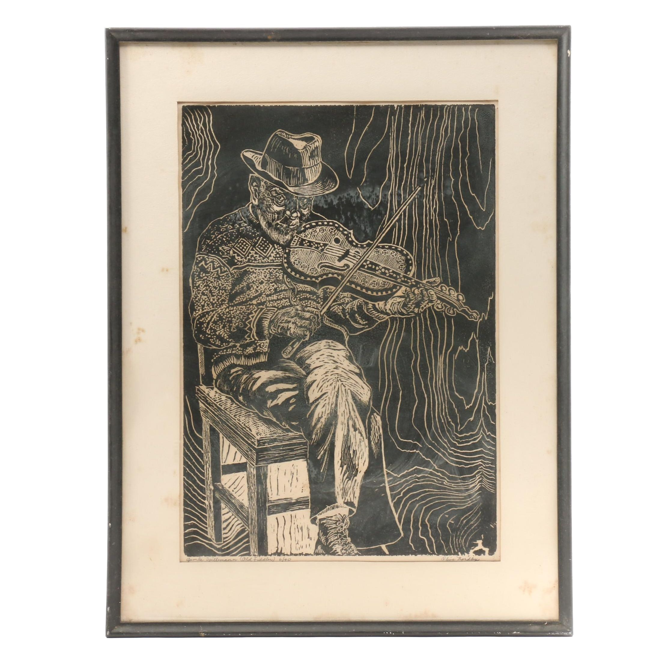 "Olive Nordby Limited Edition Woodblock Print ""Gamle Spillemann (Old Fiddler)"""