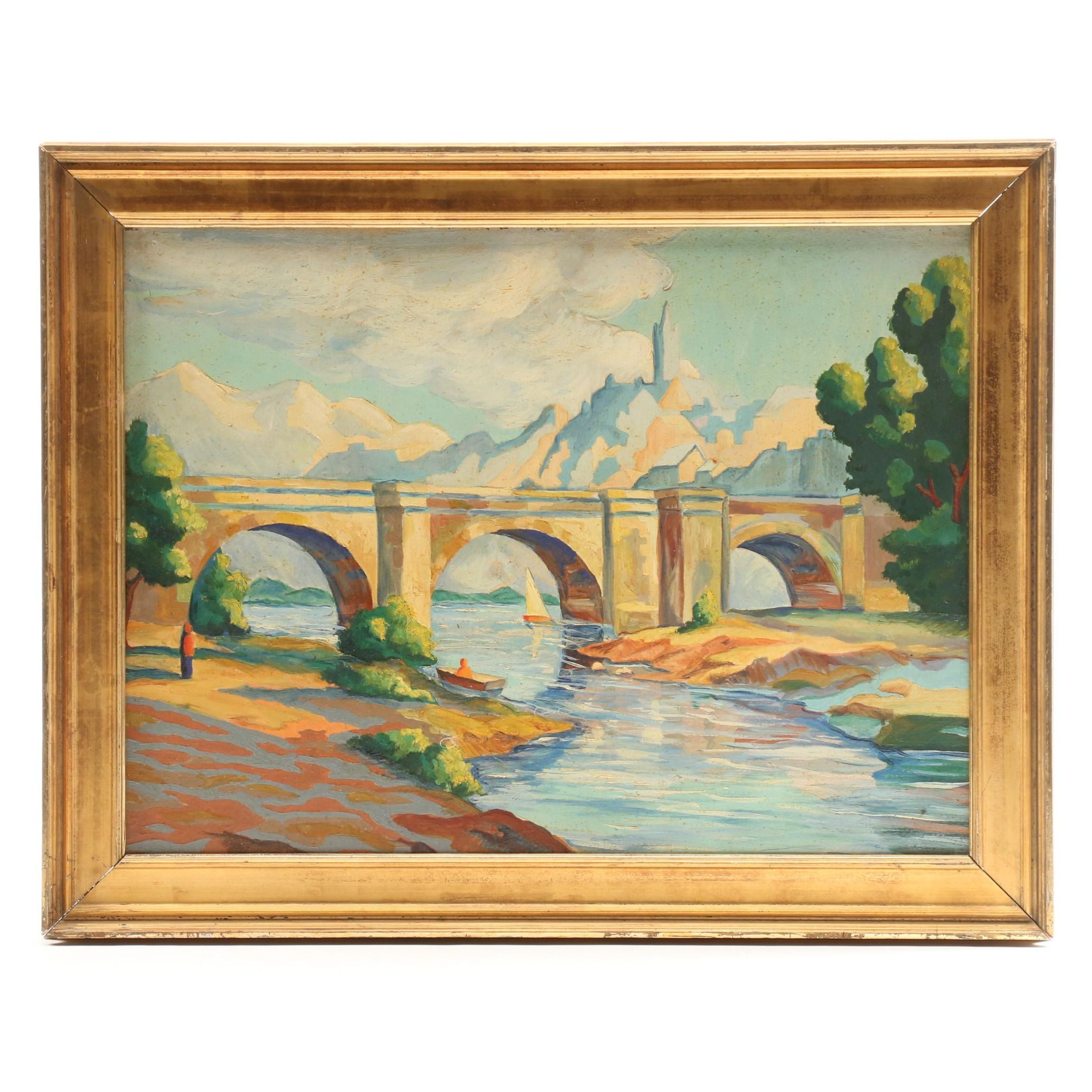 Oil Painting of River Scene with Bridge