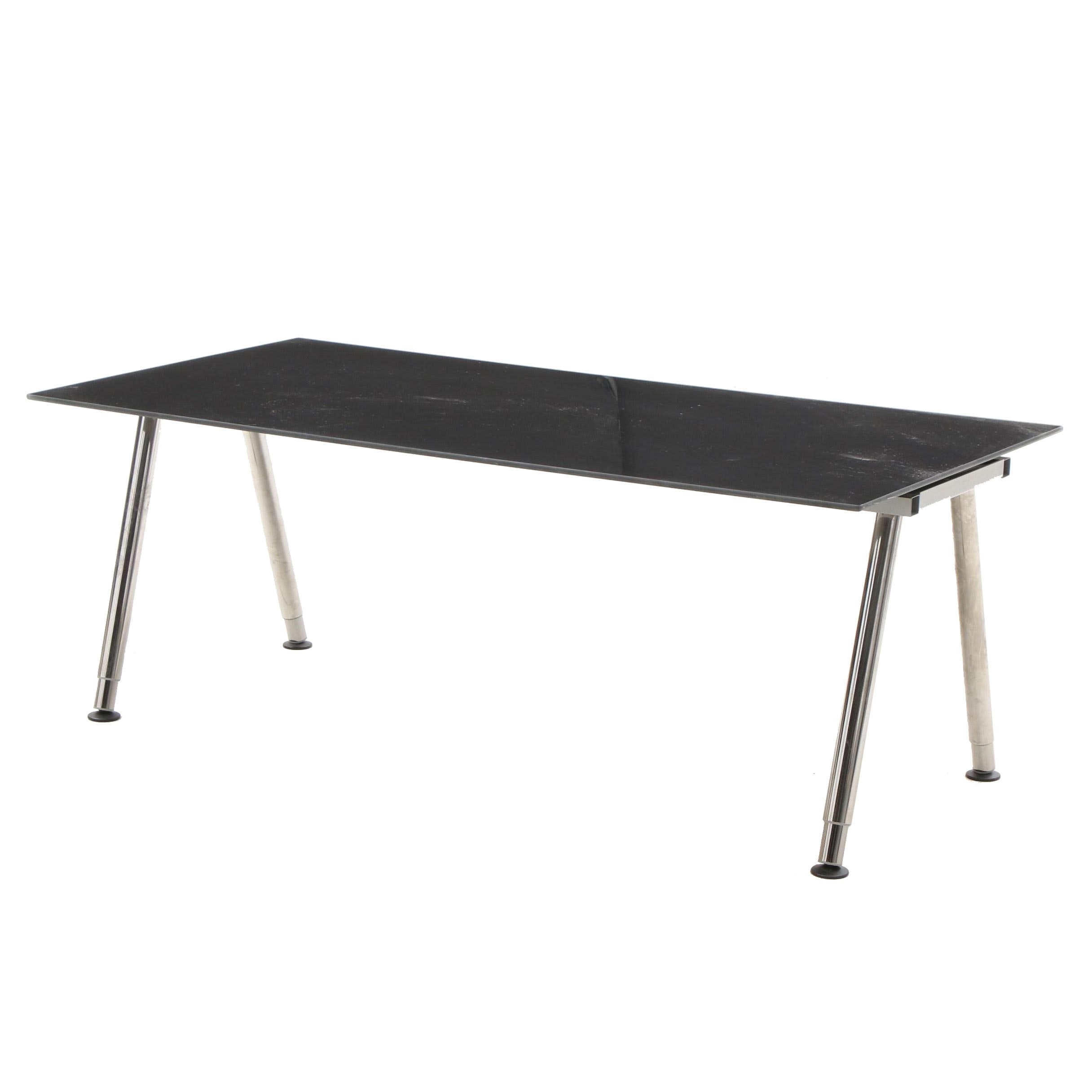 IKEA Galant Black Glass Table