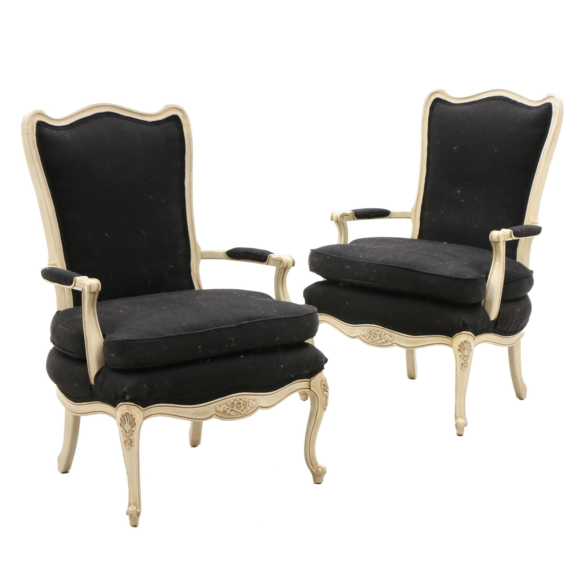 Pair Upholstered Arm Chairs in Black