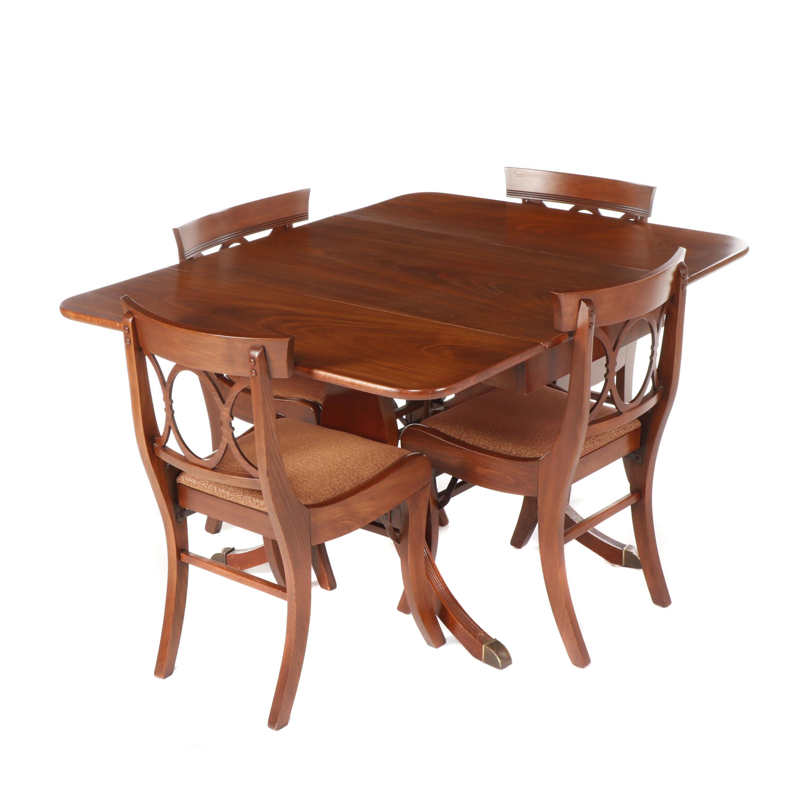 Duncan Phyfe Style Dining Table with Tell City Mahogany Folding Chairs, 20th C.