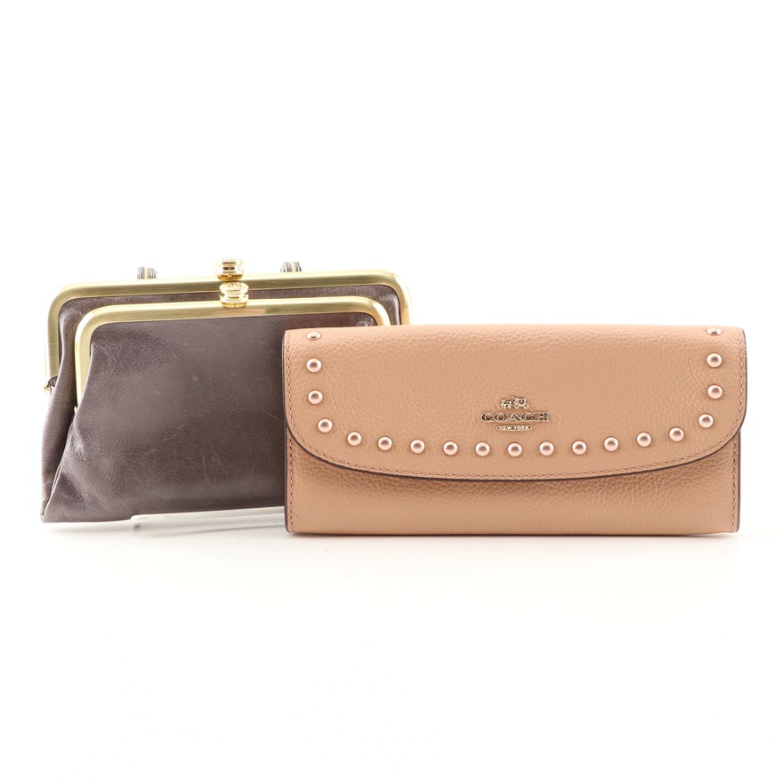 Coach Beige Soft Leather Wallet with Lacquer Rivets and Hobo Leather Coin  Purse   EBTH ae39001296