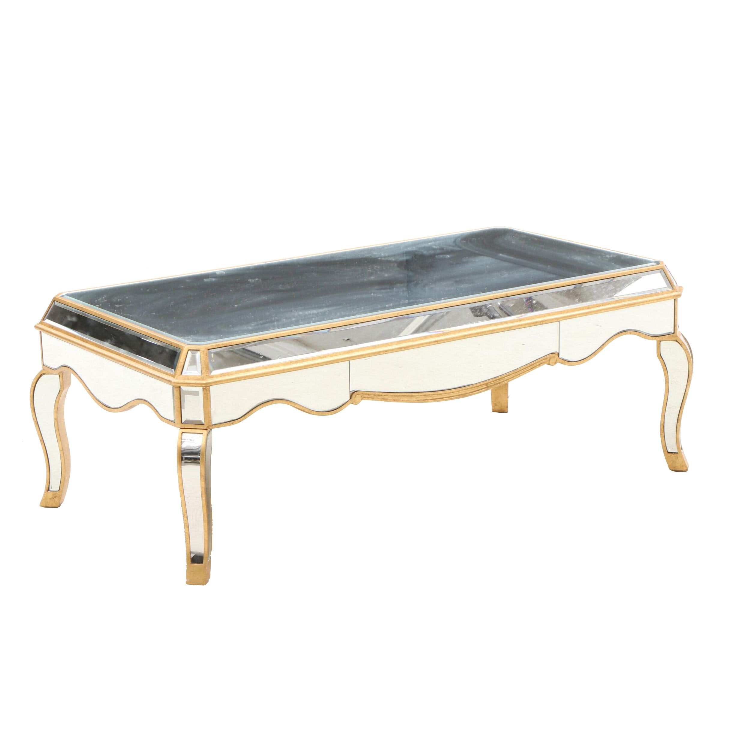"One Kings Lane ""Camille"" Mirrored Coffee Table with Gilt Trim"