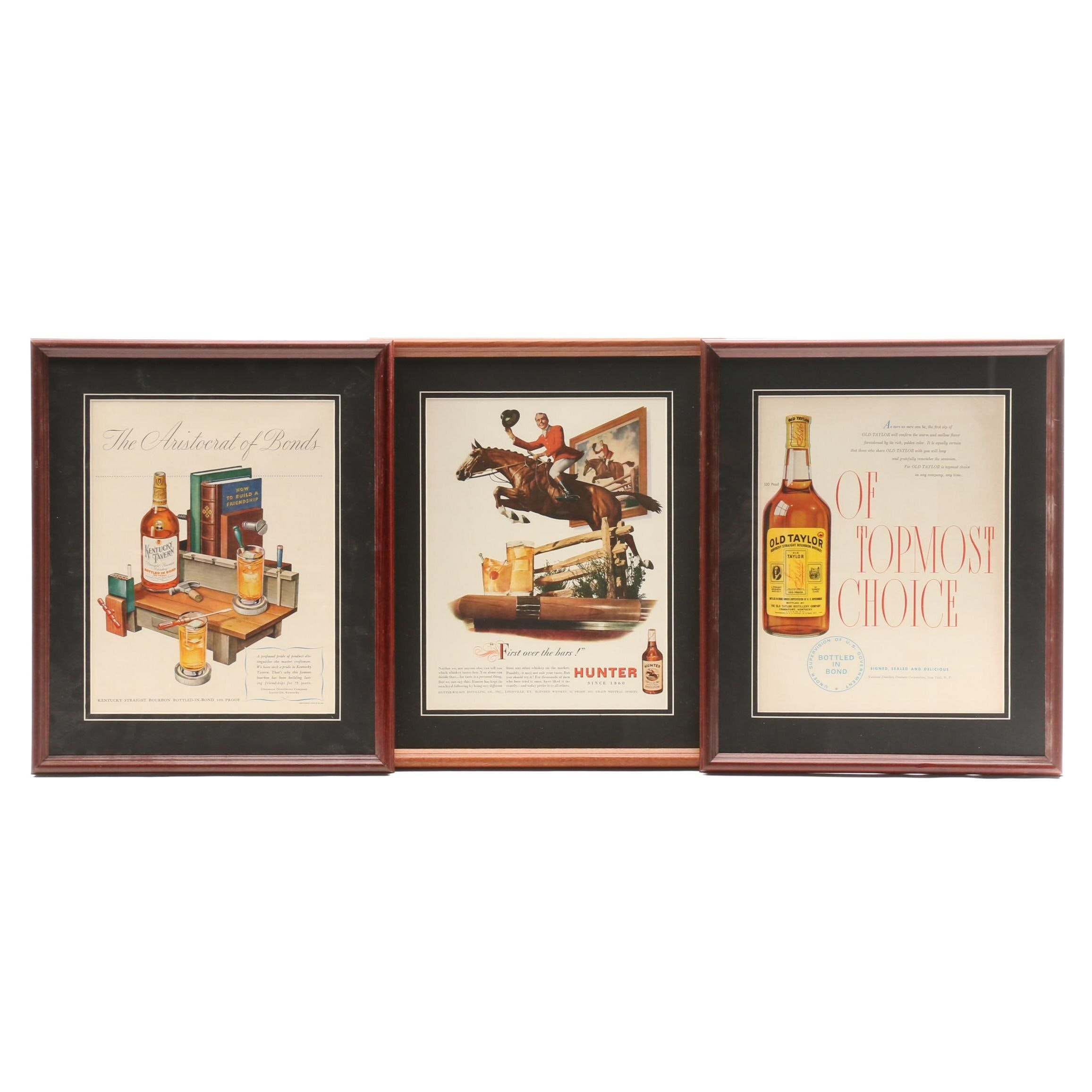 Vintage Advertisements for Old Taylor, Kentucky Tavern and Hunter Bourbon