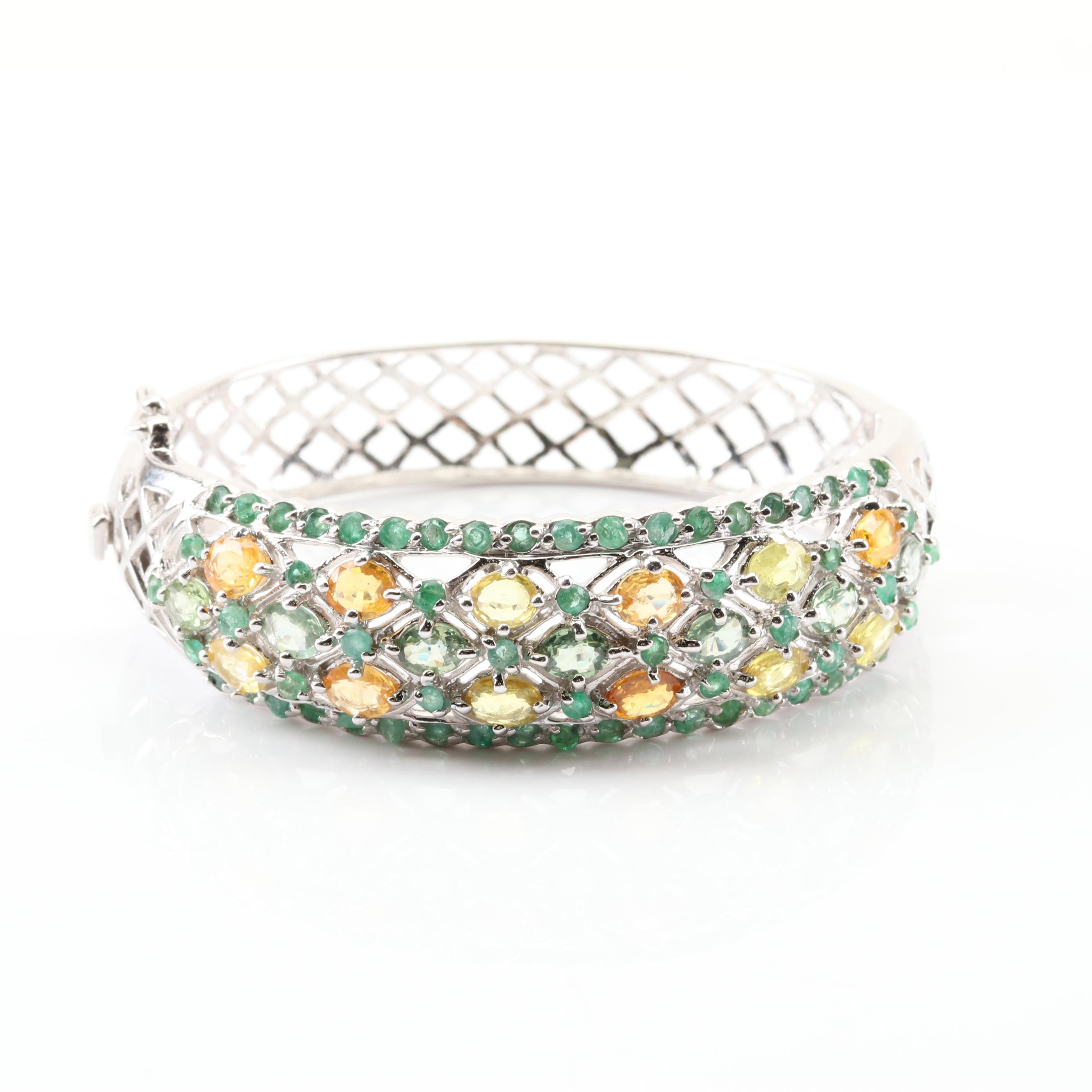 Sterling Silver Emerald and Sapphire Bracelet