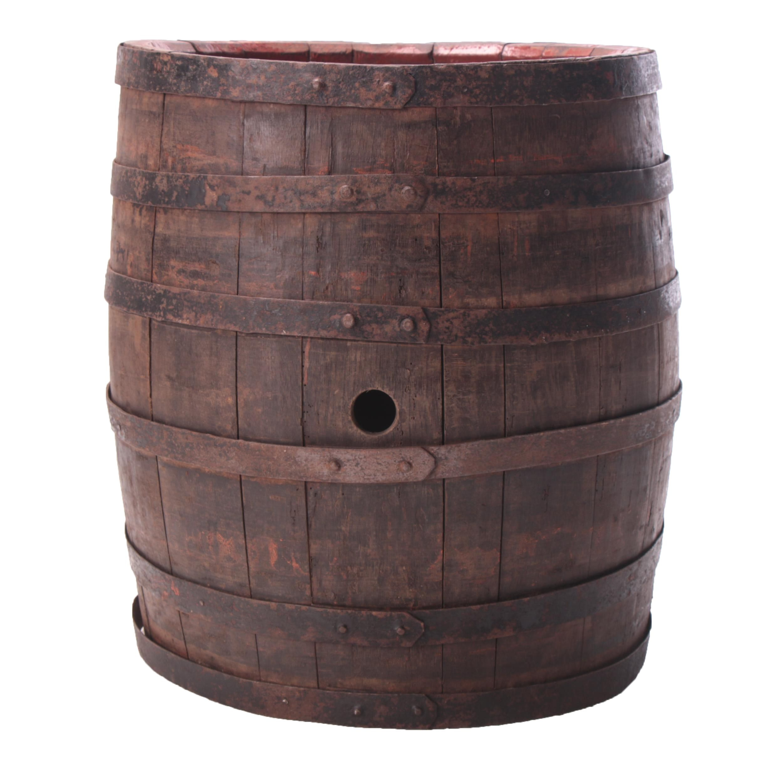 Oak and Iron Wine Barrel, 20th Century