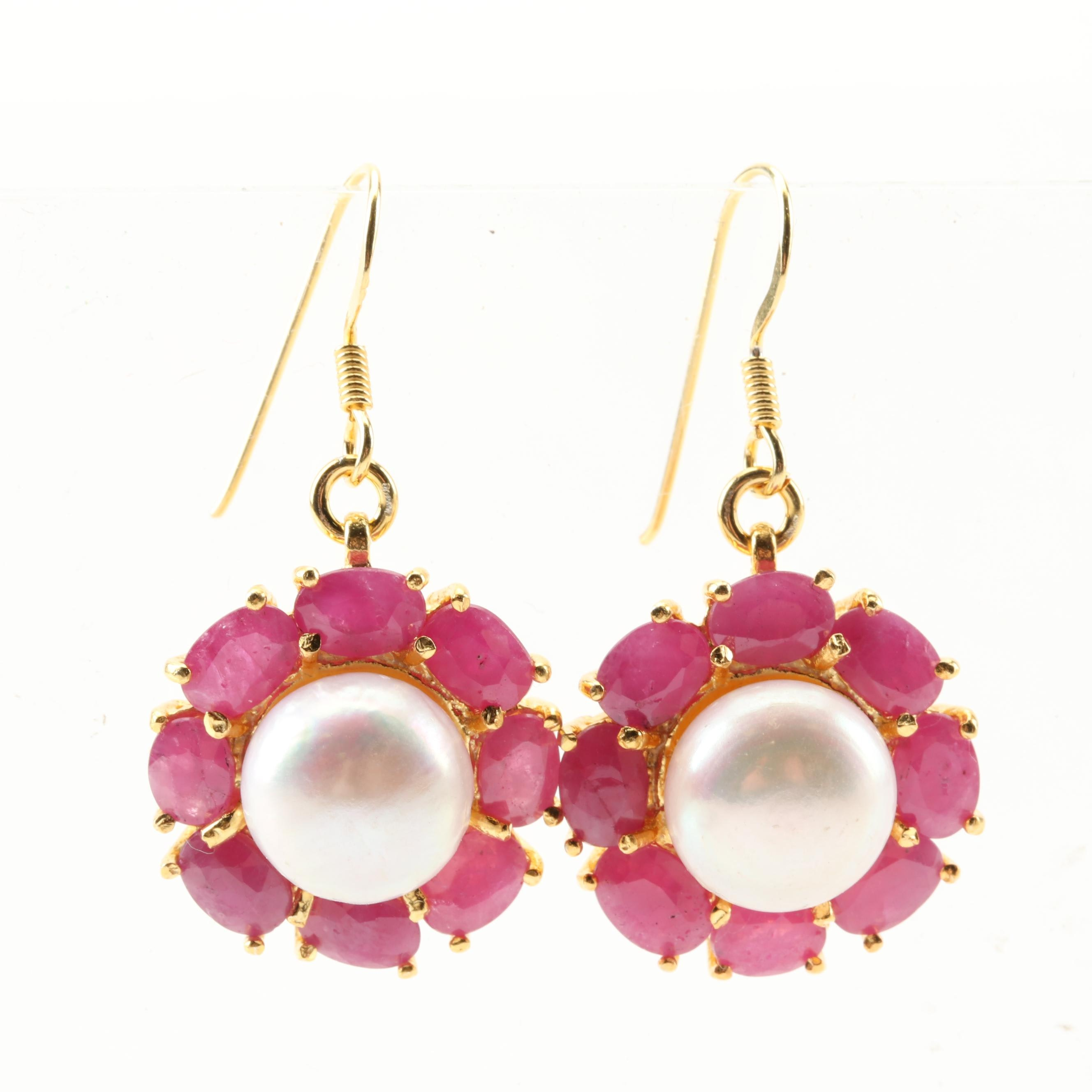 Gold Wash Sterling Silver Freshwater Pearl and Ruby Earrings