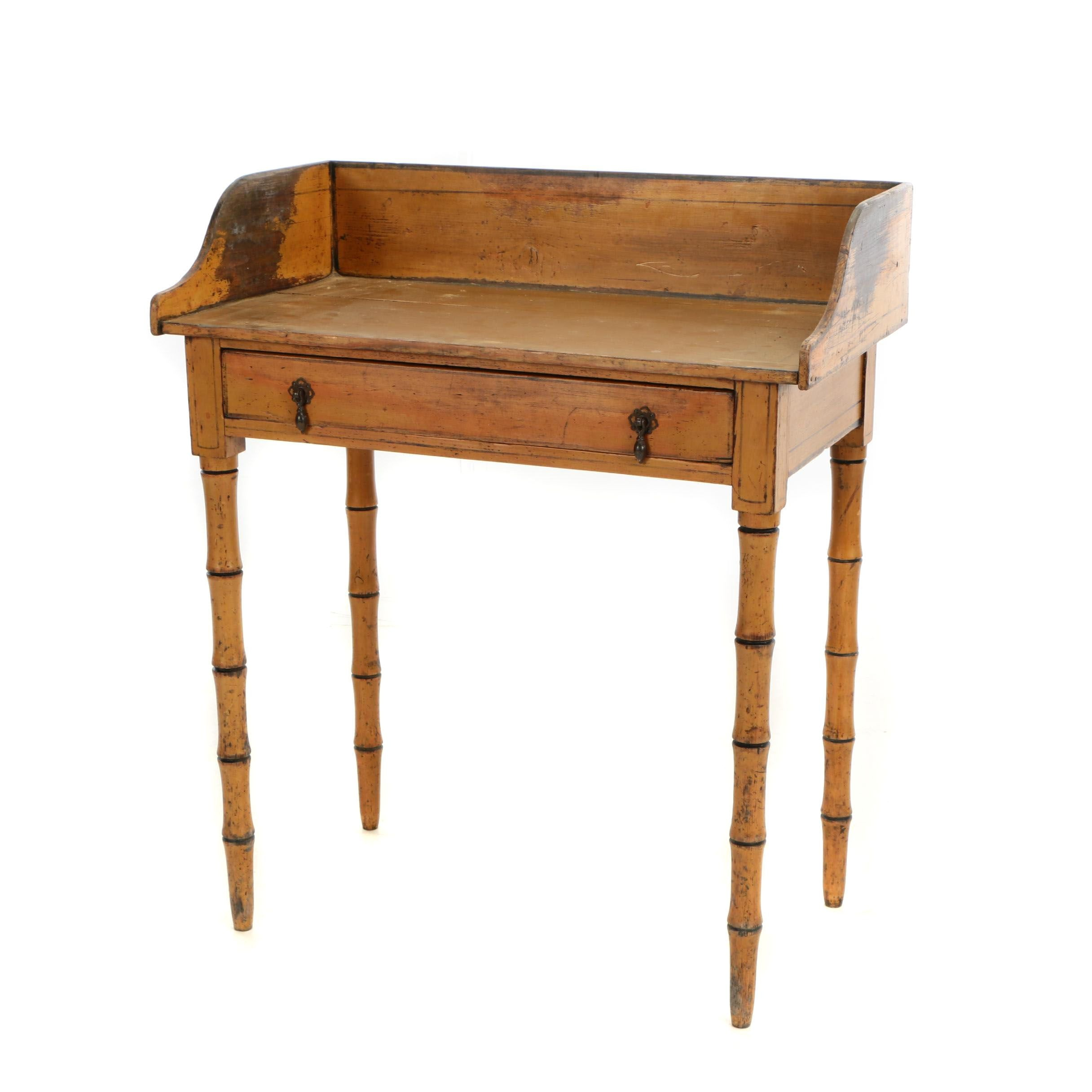 Late Regency Painted Pine and Simulated Bamboo Side Table, Circa 1820