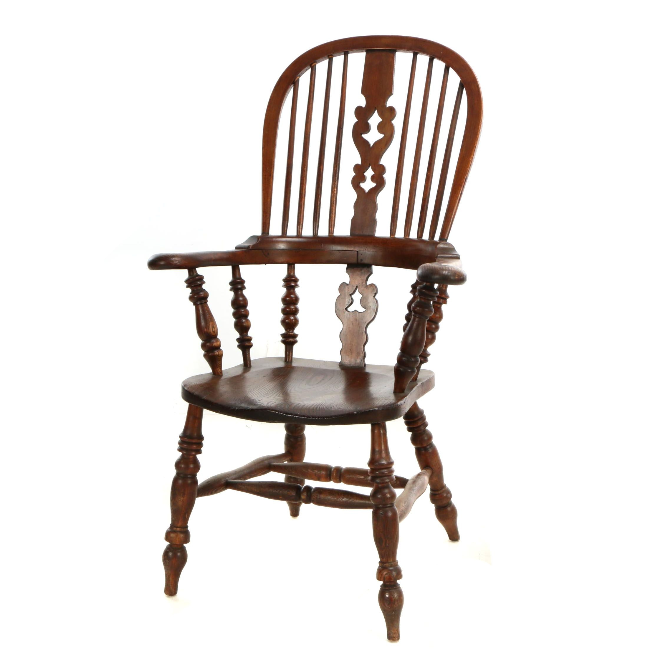 English Elm and Beech Windsor Armchair by W.F. Co. Ltd., Early 20th Century