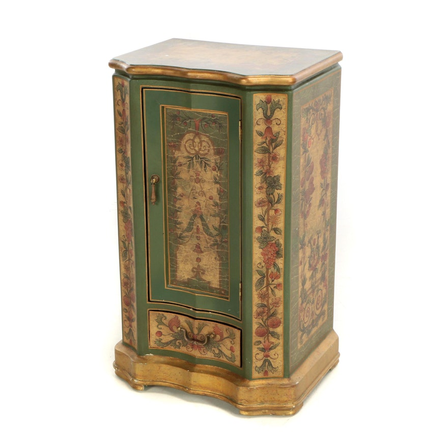 Contemporary Painted And Parcel Gilt Side Cabinet By