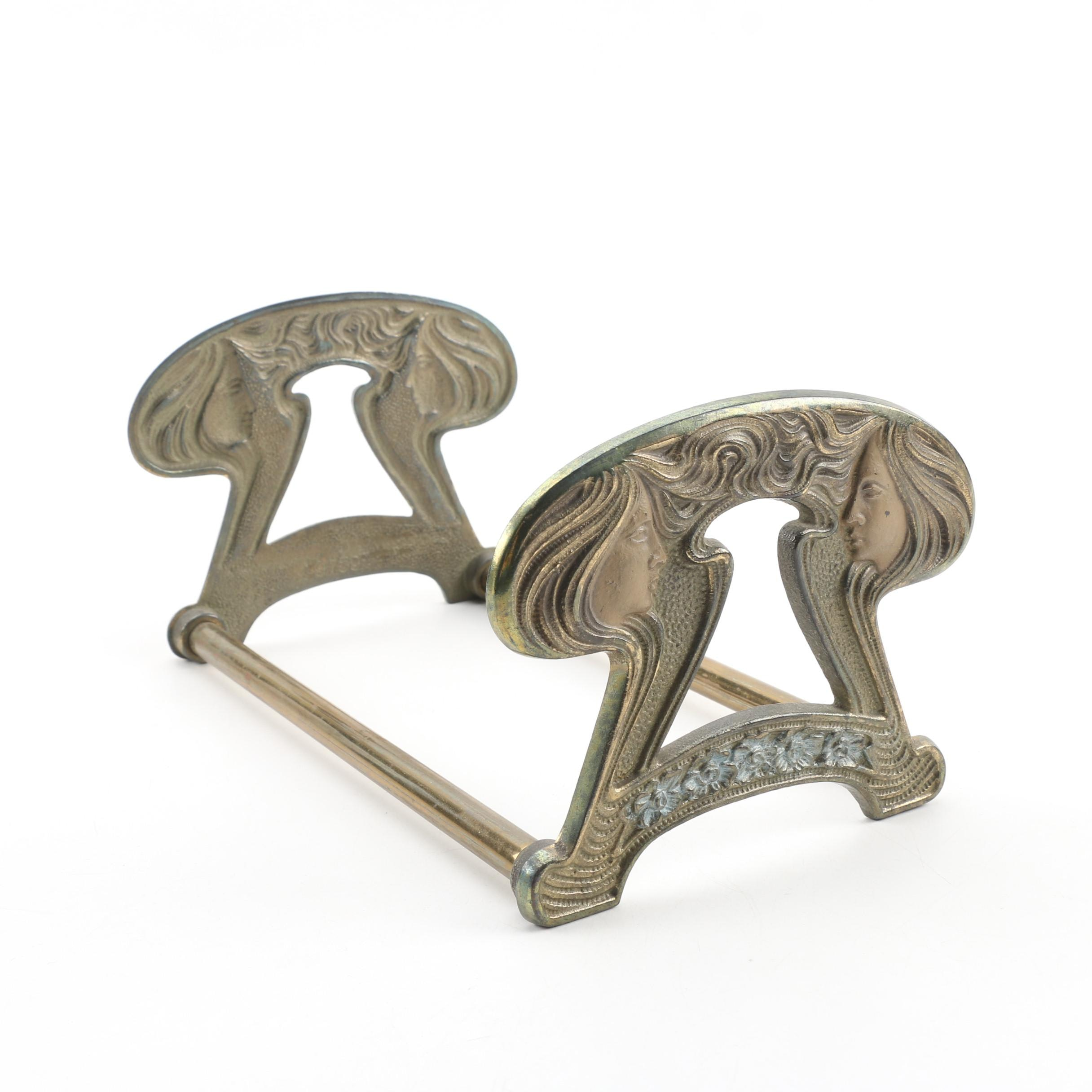 "H.L. Judd Co. Art Nouveau ""Ladies and Keyhole"" Cast Brass Book Rack, c.1920s"