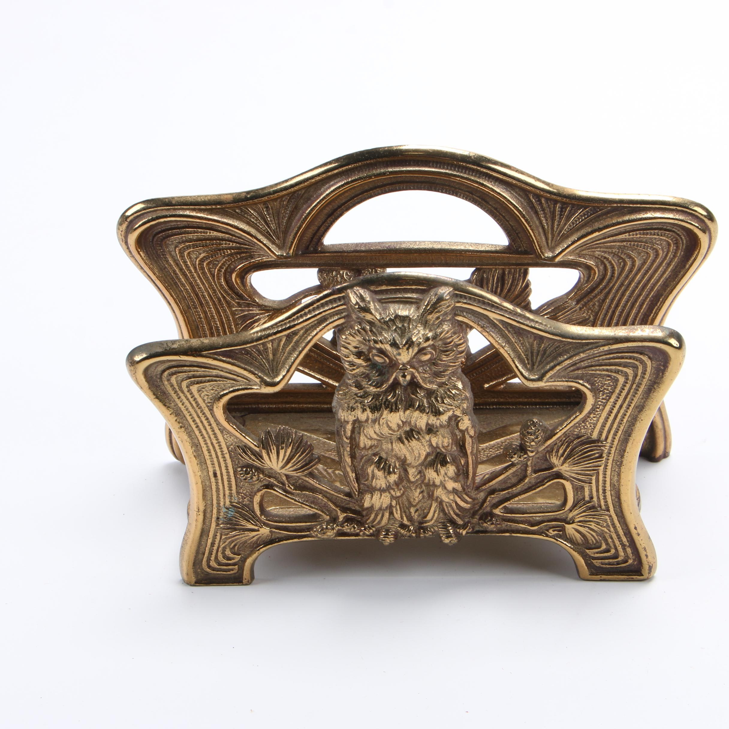 H. L. Judd Co. Art Nouveau Owl Cast Brass Letter Holder, c.1920s
