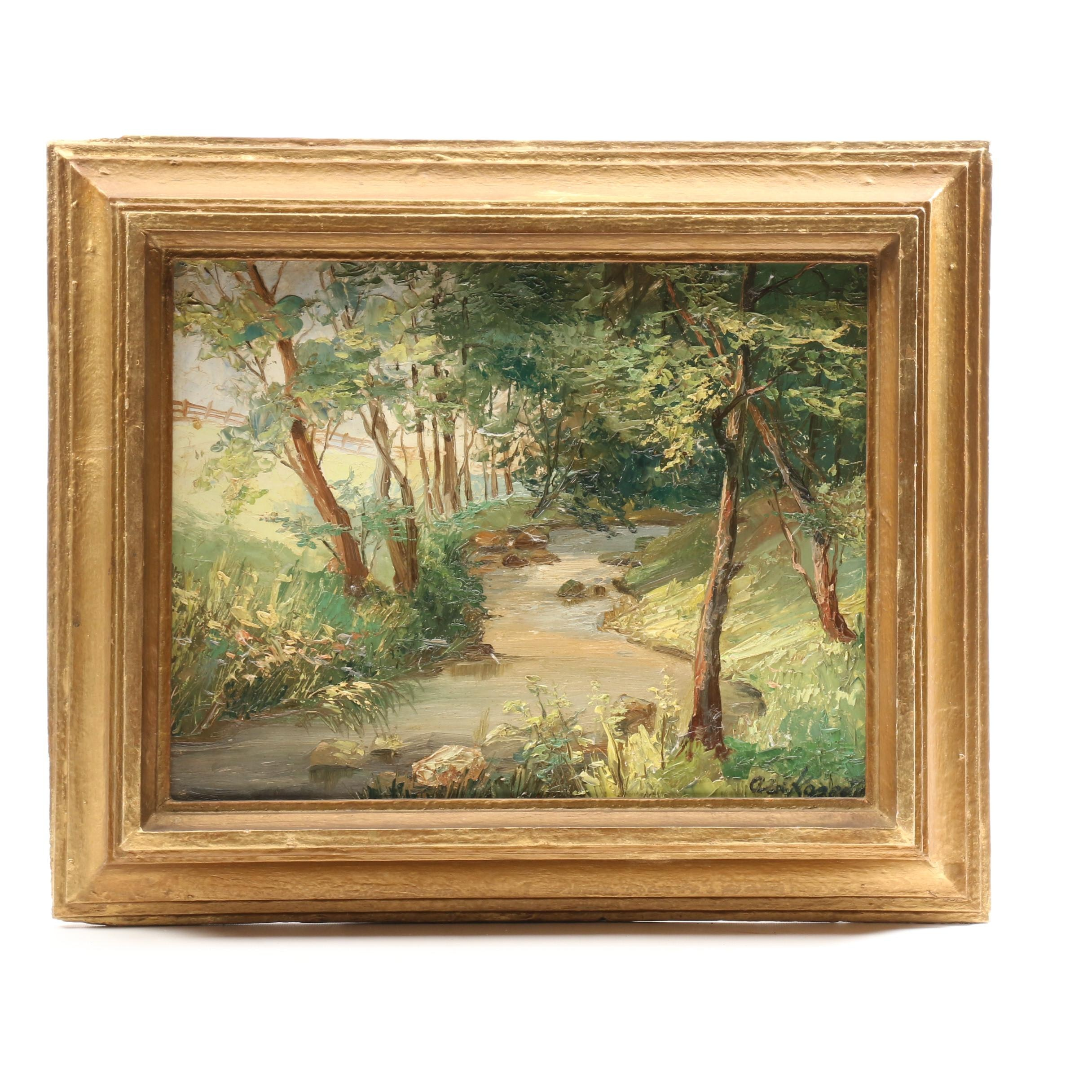 Impasto Oil Painting of Forested Landscape with Stream